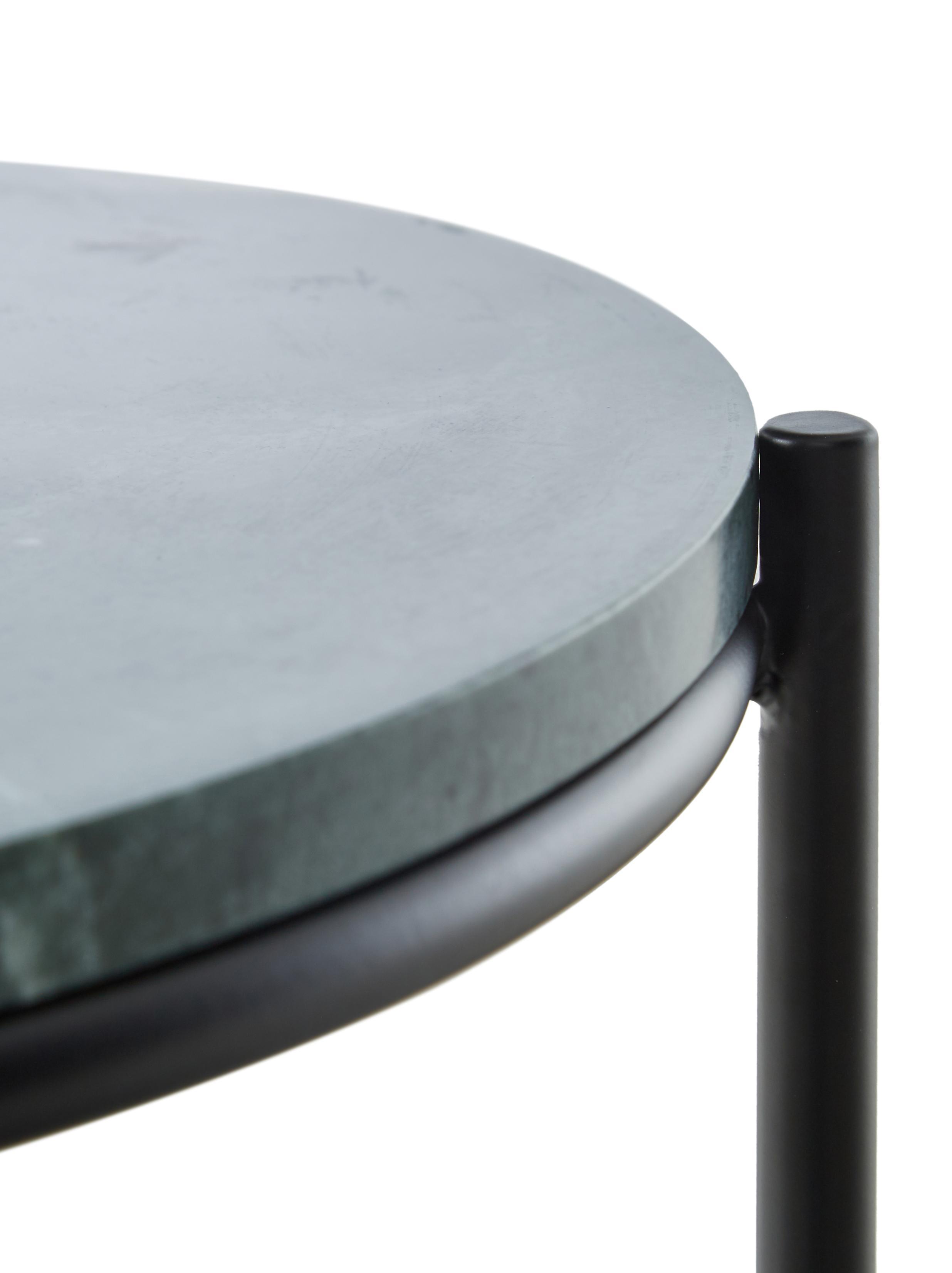 Runder Marmor-Beistelltisch Ella, Tischplatte: Marmor, Gestell: Metall, pulverbeschichtet, Tischplatte: Grüner Marmor Gestell: Schwarz, matt, Ø 40 x H 50 cm