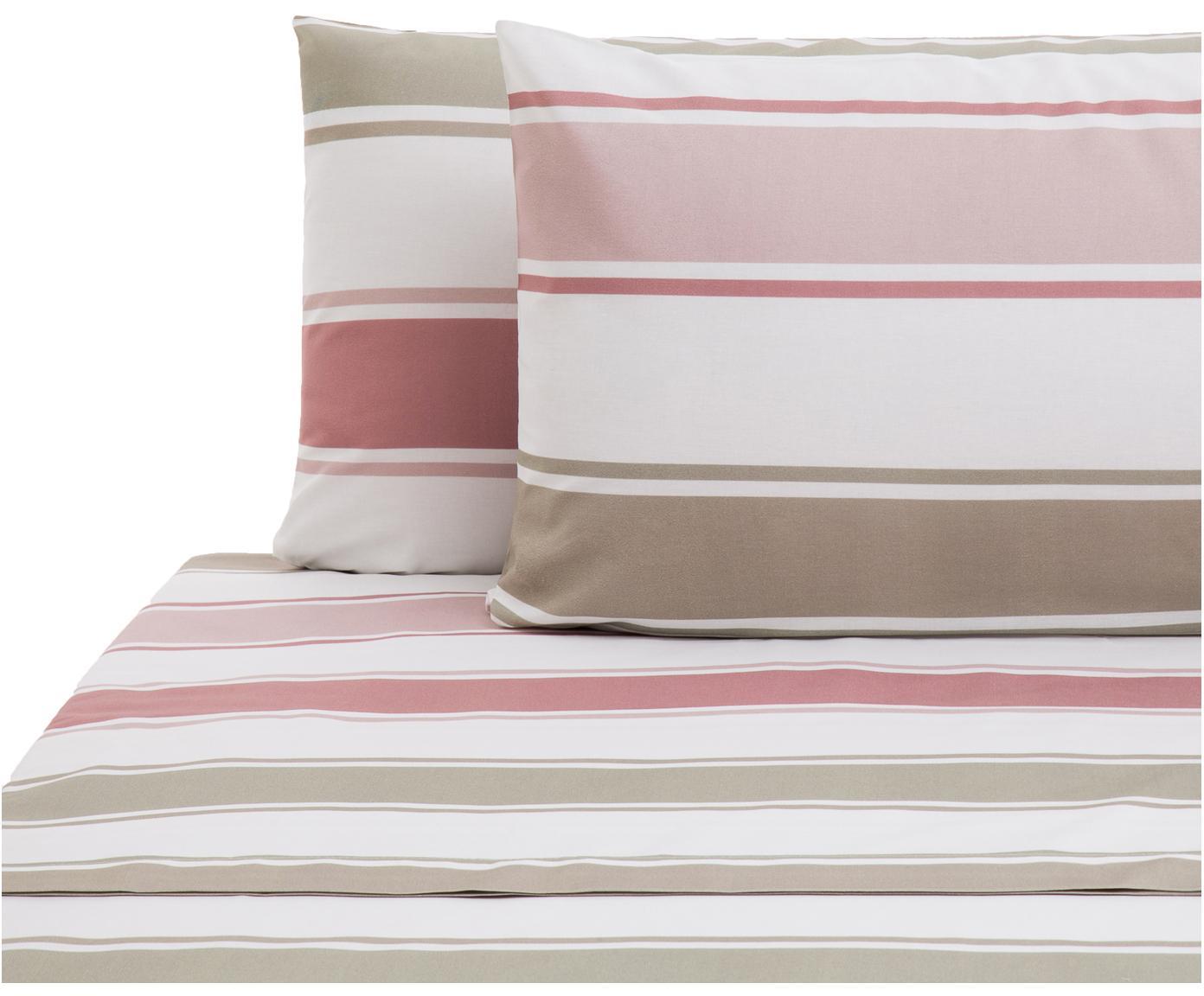 Set lenzuola in cotone Cappo 2 pz, Cotone, Rosso, rosa, verde oliva, marrone chiaro, bianco, 240 x 270 cm