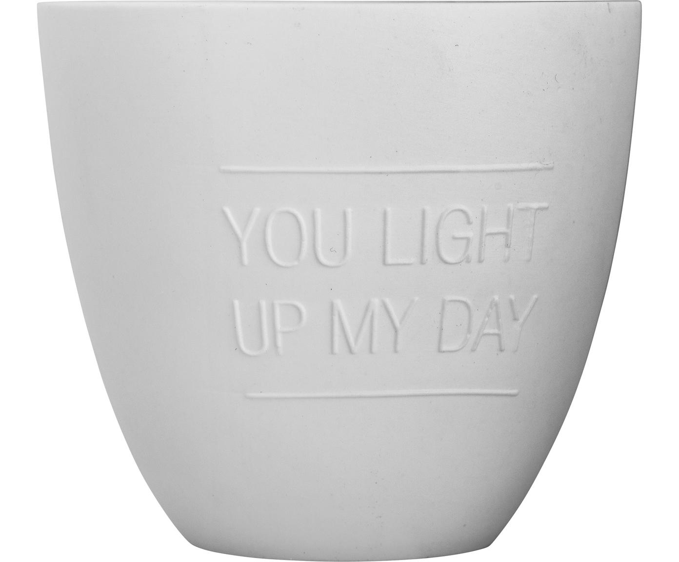 Portavelas Light, Porcelana, Blanco, Ø 7 x Al 8 cm
