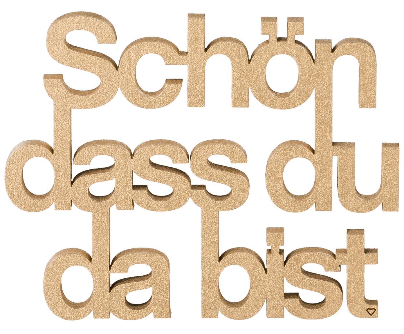 XS Wandobjekt Schön aus lackiertem Holz, Mitteldichte Faserplatte (MDF), lackiert, Goldfarben, 11 x 9 cm