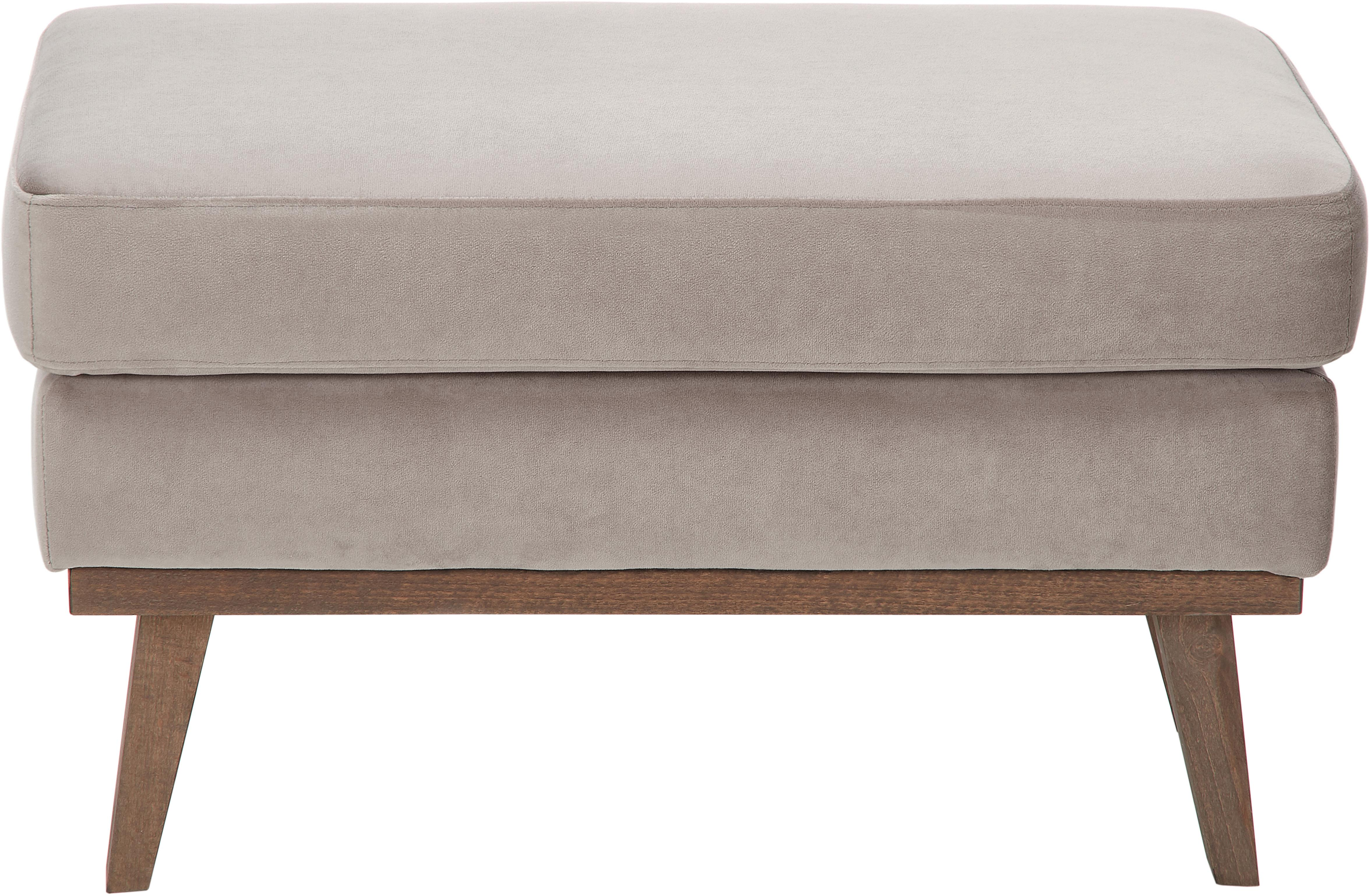 Puf z aksamitu Alva, Tapicerka: aksamit (wysokiej jakości, Stelaż: drewno sosnowe, Nogi: lite drewno bukowe, barwi, Tapicerka: taupe Nogi: drewno bukowe, ciemny bejcowane, S 74 x W 30 cm