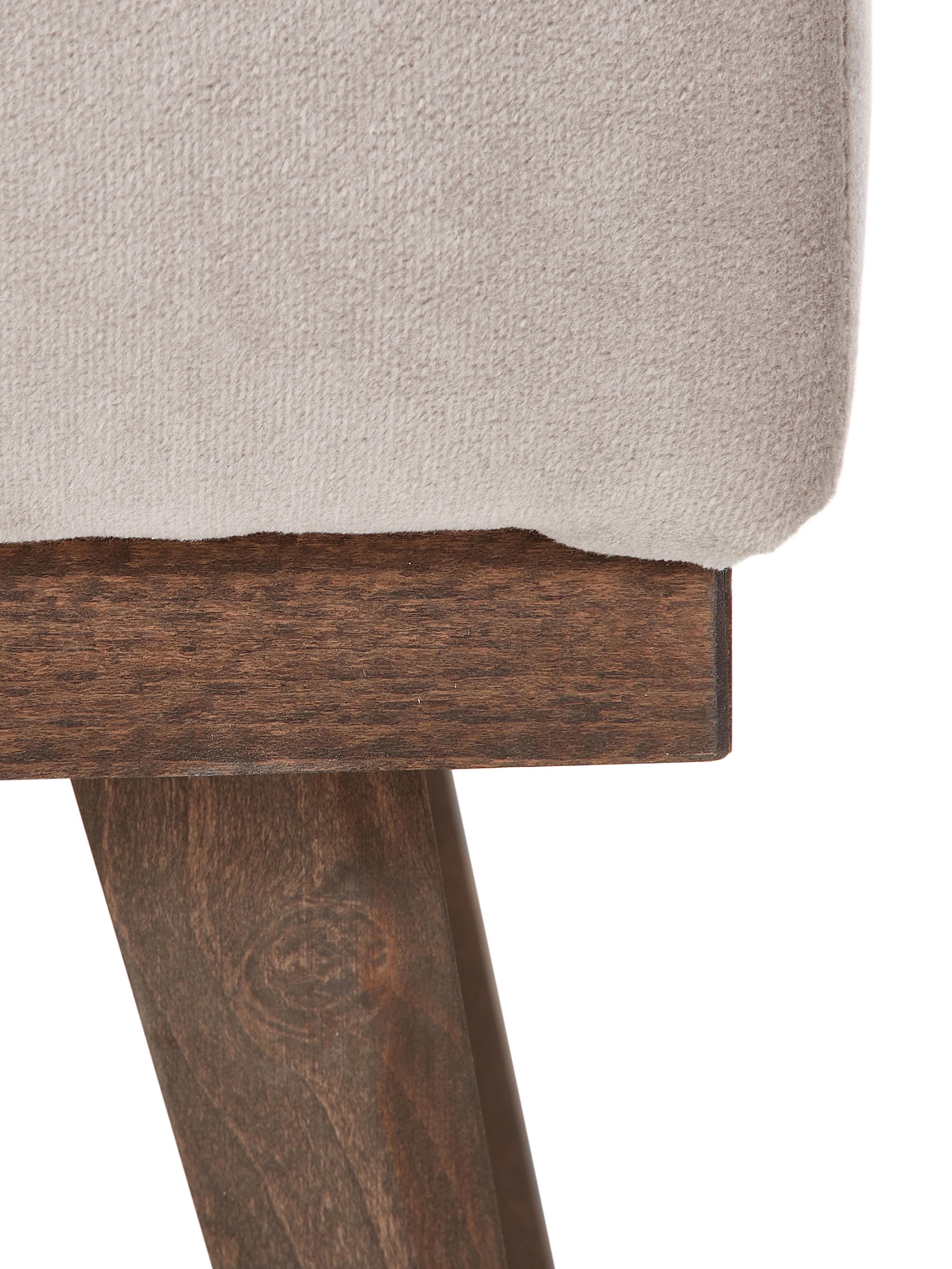 Sofa-Hocker Alva aus Samt, Bezug: Samt (Hochwertiger Polyes, Gestell: Massives Kiefernholz, Füße: Massives Buchenholz, gebe, Taupe, 74 x 30 cm