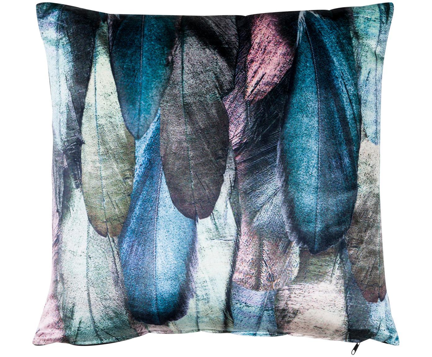 Cuscino in velluto Janeiro con stampa piuma, con imbottitura, Fronte: multicolore Retro: nero, Larg. 50 x Lung. 50 cm