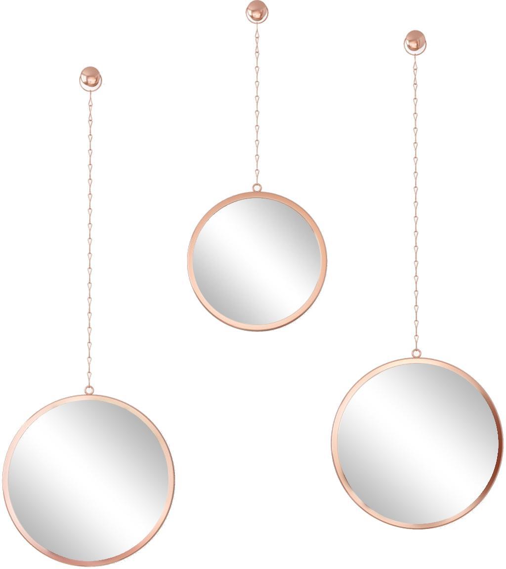 Wandspiegelset Dima, 3-delig, Frame: gecoat metaal, Koperkleurig, Verschillende formaten