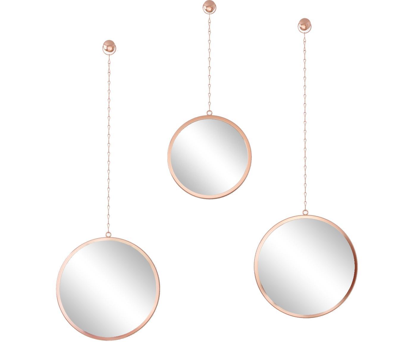 Set 3 specchi da parete Dima, Cornice: metallo rivestito, Superficie dello specchio: lastra di vetro, Ramato, Diverse dimensioni