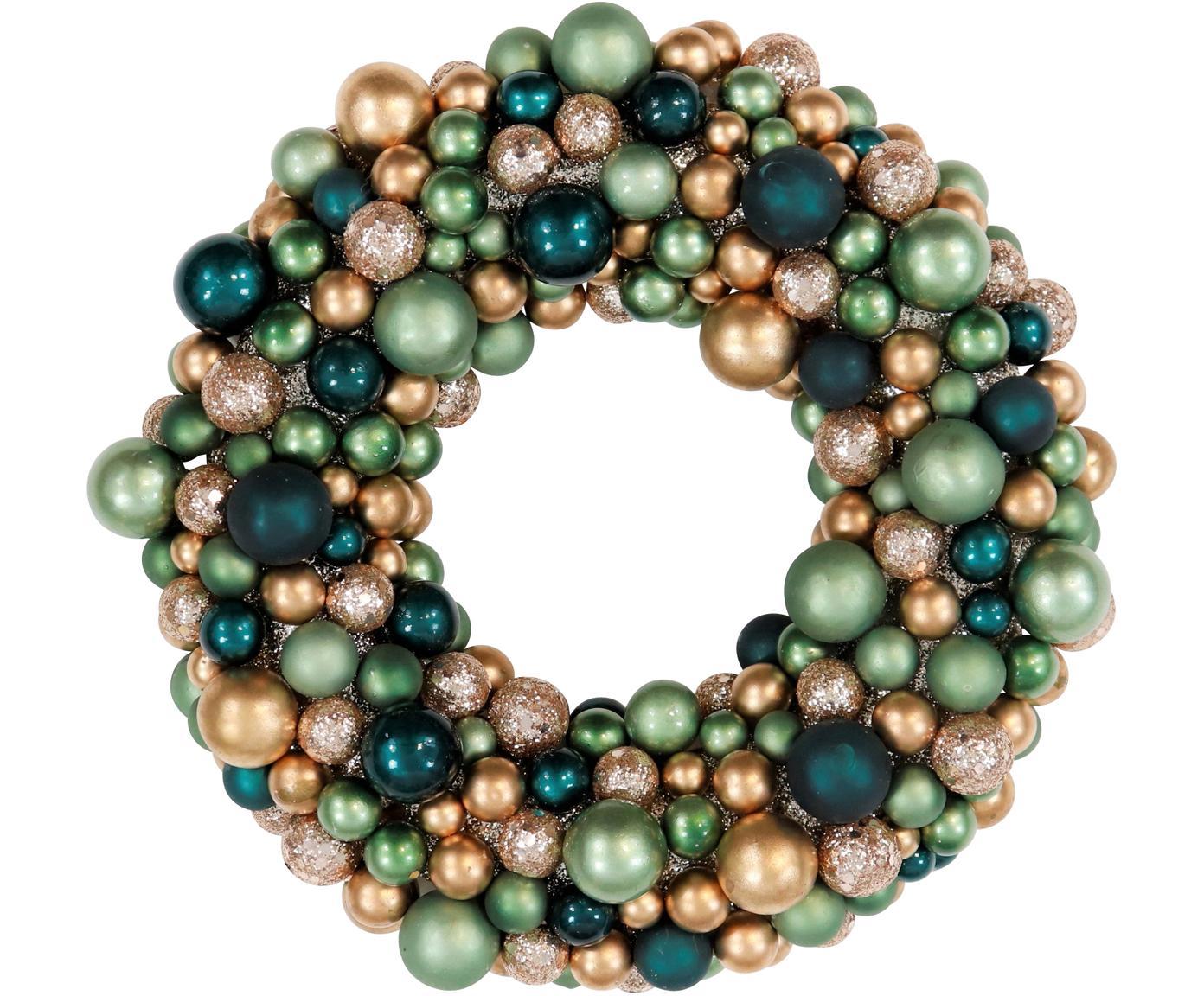 Weihnachtskranz Festivity, Kunststoff, Styropor, Grün, Goldfarben, Ø 25 x H 6 cm