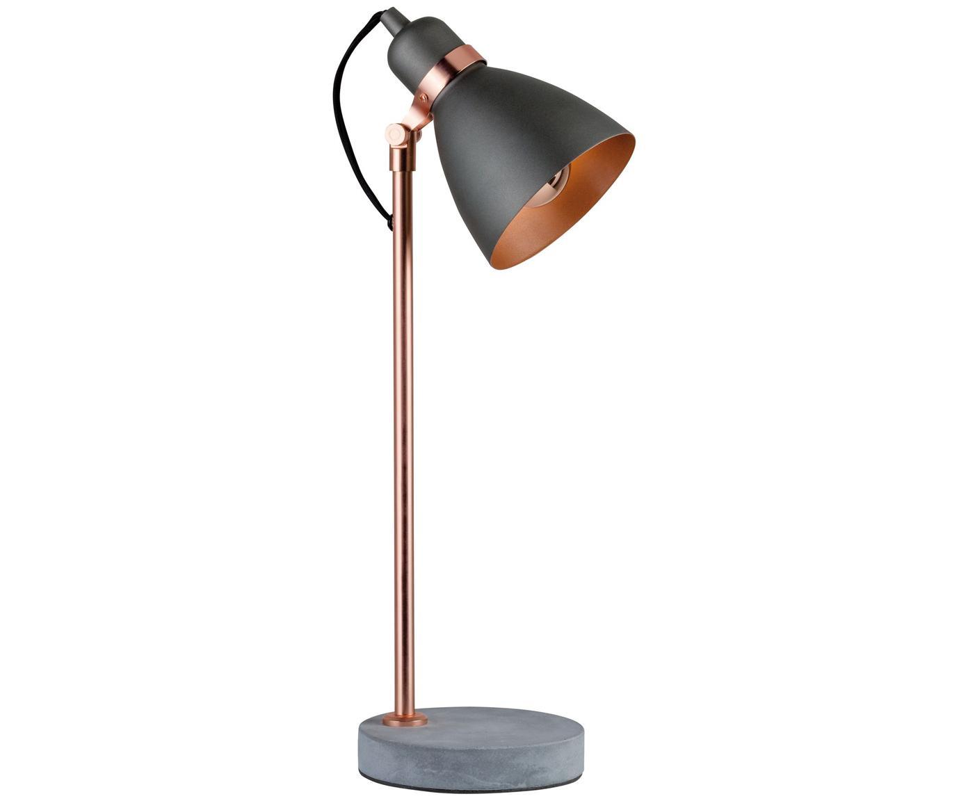 Schreibtischlampe Orm mit Betonfuß, Lampenschirm: Metall, beschichtet, Stange: Metall, beschichtet, Lampenfuß: Beton, Kupferfarben, Grau, Ø 15 x H 50 cm