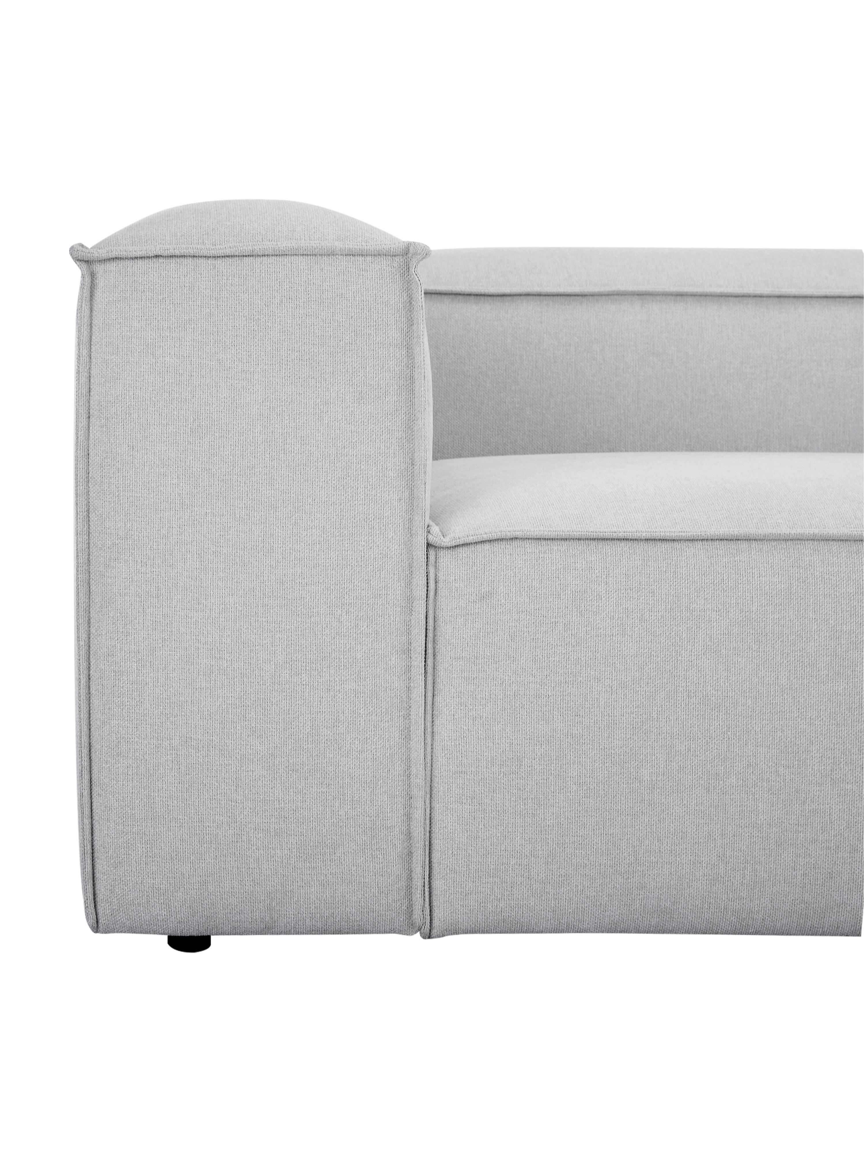 Modulares Sofa Lennon (4-Sitzer), Bezug: Polyester 35.000 Scheuert, Gestell: Massives Kiefernholz, Spe, Füße: Kunststoff, Webstoff Hellgrau, B 326 x T 119 cm