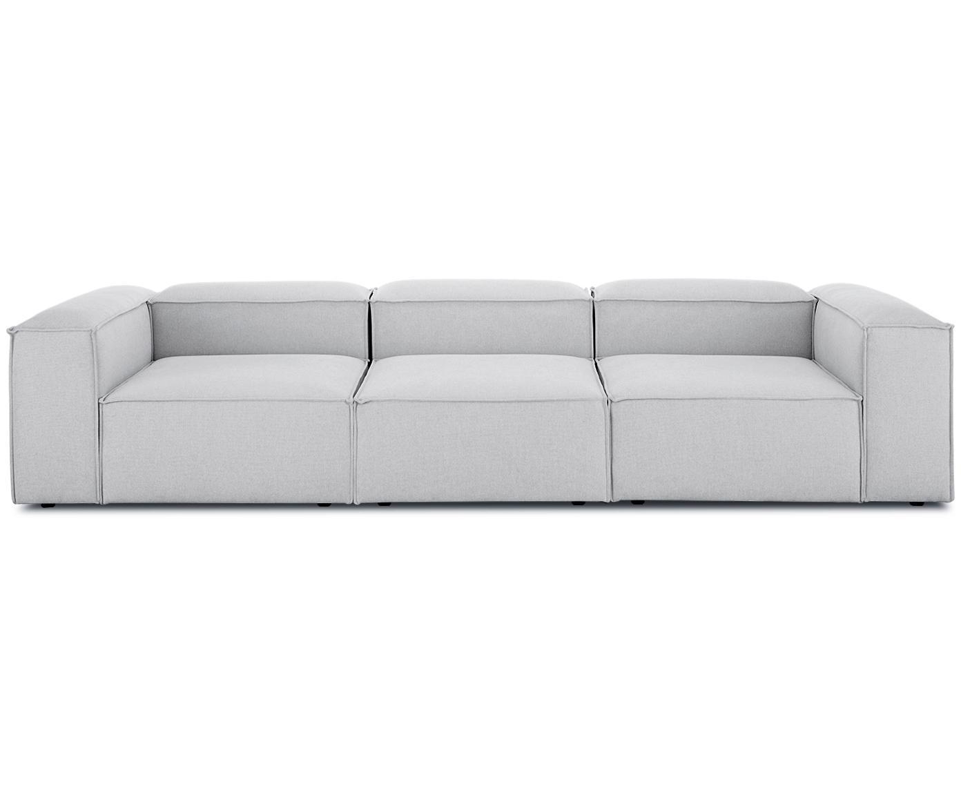 Modulares Sofa Lennon (4-Sitzer), Bezug: Polyester 35.000 Scheuert, Gestell: Massives Kiefernholz, Spe, Webstoff Hellgrau, B 326 x T 119 cm