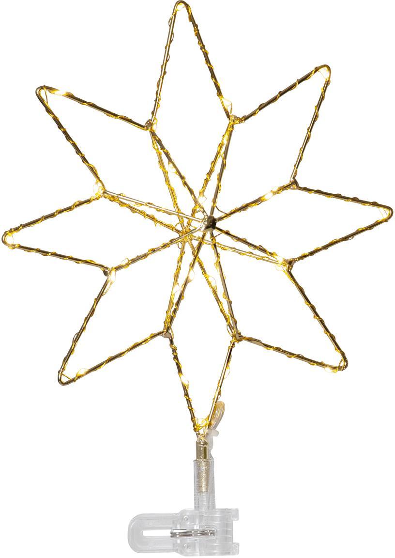 Puntale dell'albero a LED a batteria Topsy, Dorato, Larg. 23 x Alt. 30 cm