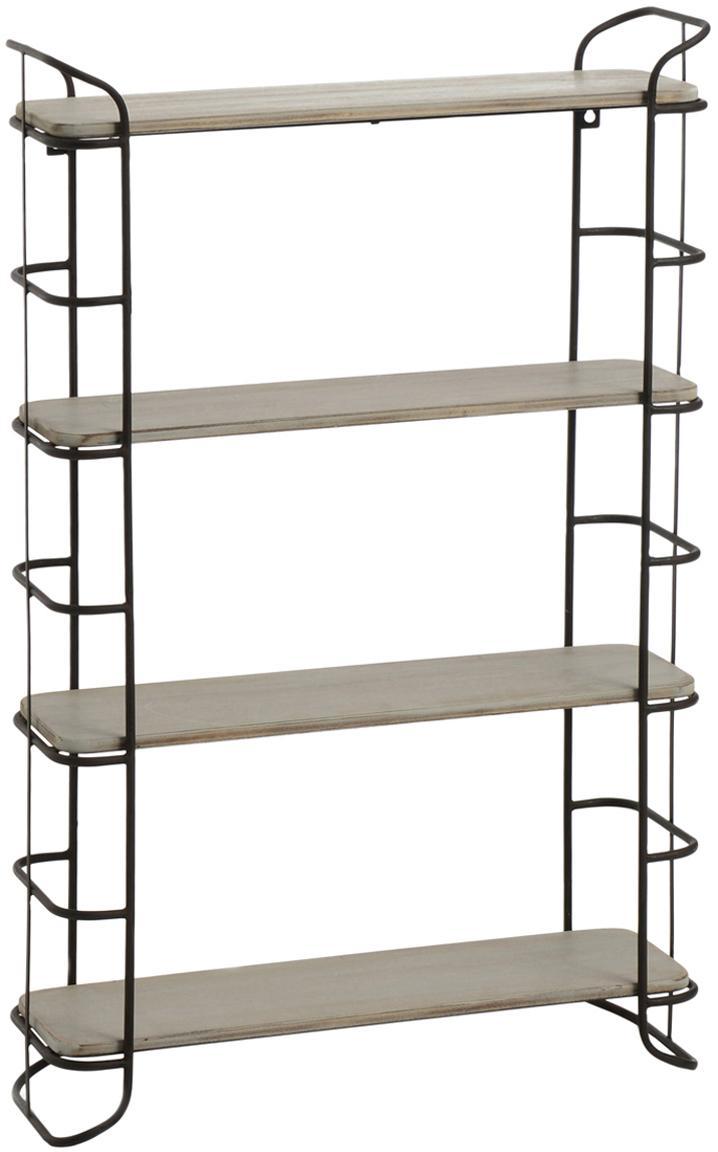 Estantería Pepper, Estructura: metal, Estantes: madera, Beige, negro, An 50 x Al 80 cm