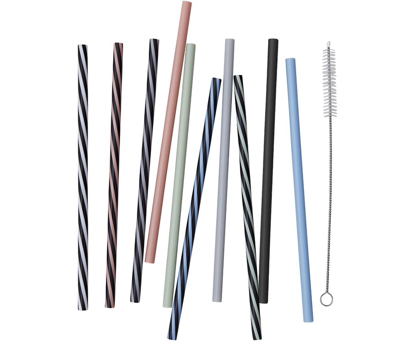 Komplet słomek Multi, 11 elem., Stal nierdzewna, nylon, Wielobarwny, D 19 cm