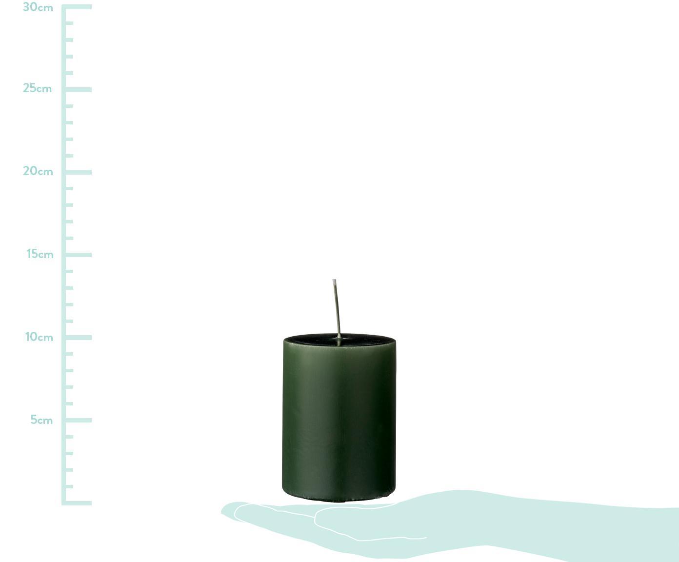Świece pieńkowe Lulu, 4 elem., Wosk, Zielony leśny, Ø 7 x W 10 cm