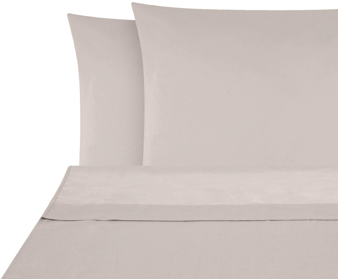Set lenzuola in raso di cotone Comfort 2 pz, Tessuto: raso Densità del filo 250, Taupe, 240 x 300 cm