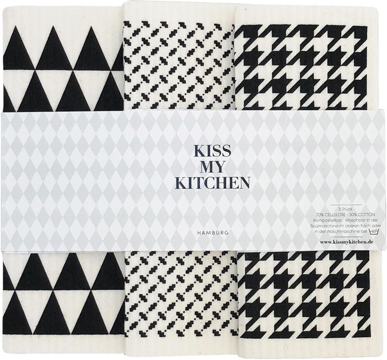 Set di panni di spugna di Tokyo 3 pz, 70% cellulosa, 30% cotone, Bianco, nero, Larg. 17 x Lung. 20 cm