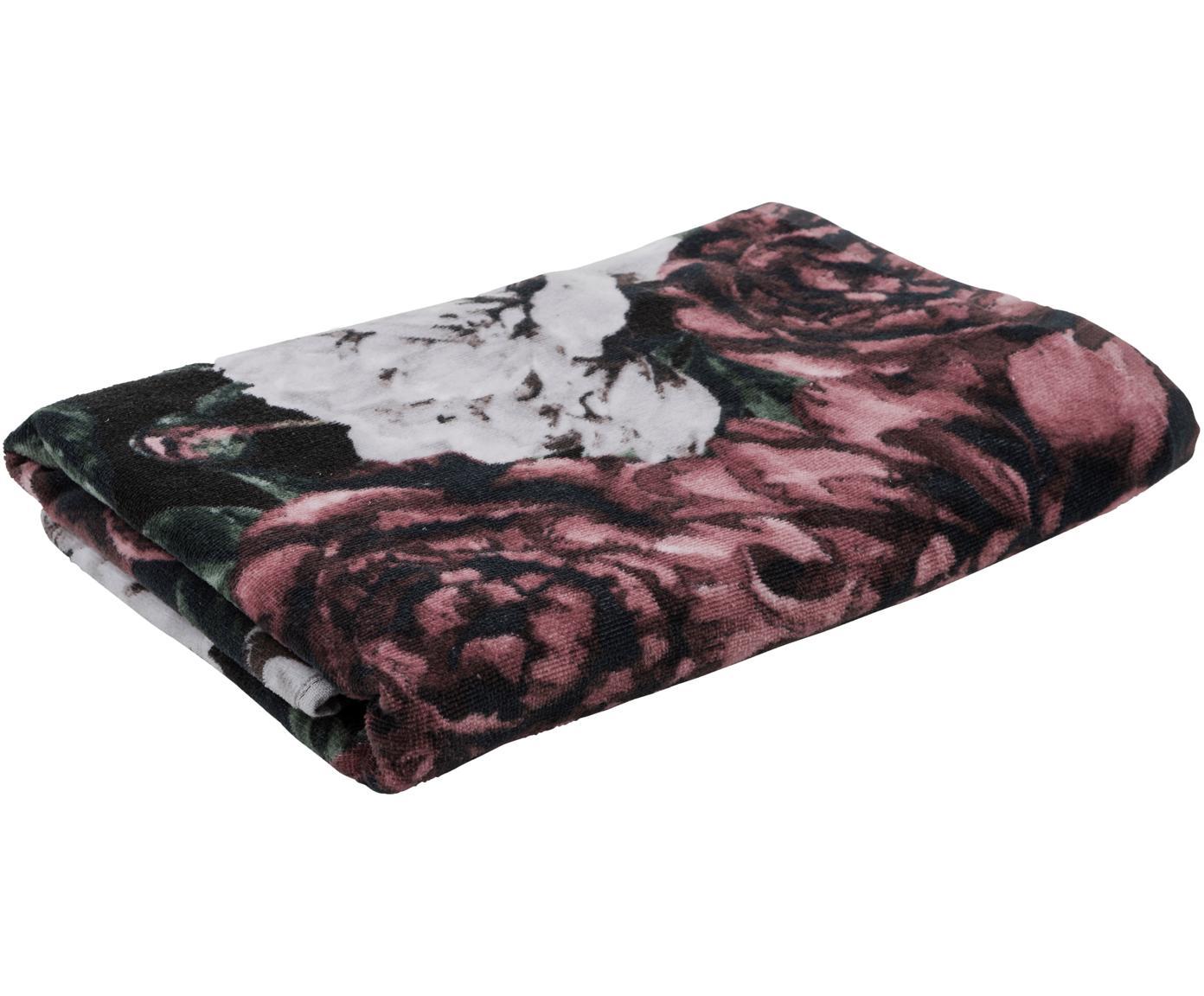 Handdoek met bloemen patroon Allison, Katoen, lichte kwaliteit 350 g/m², Rood, groen, wit, zwart, Gastendoekje
