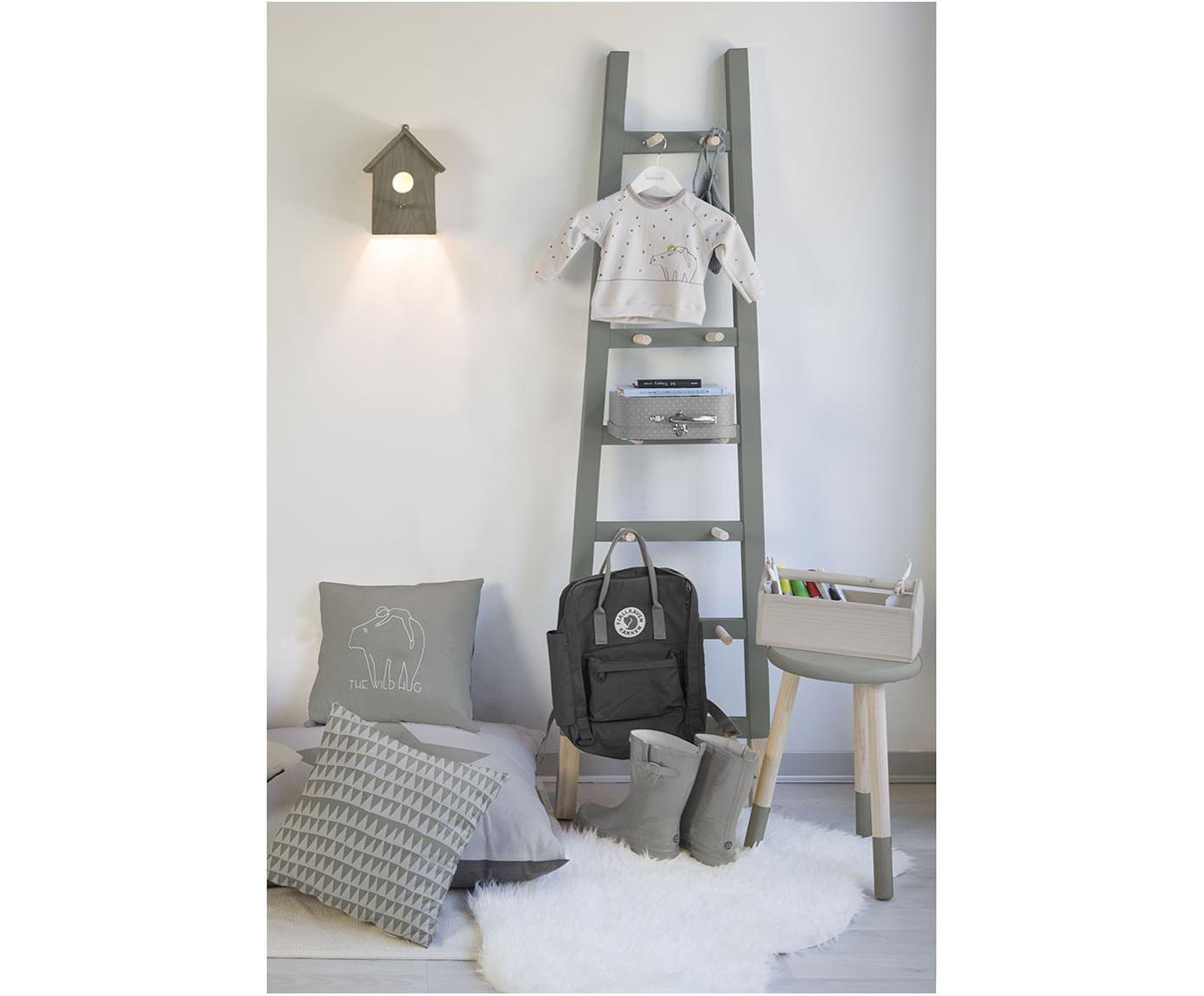 Leiter-Wandregal Helia, Kiefernholz, beschichtet, Grau, Kiefernholz, 46 x 170 cm
