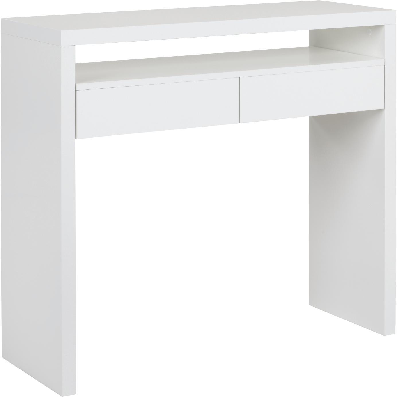 Wąskie biurko z wysuwanym blatem Teresa, Płyta wiórowa z powłoką melaminową (MFC), płyta pilśniowa średniej gęstości (MDF), Biały, S 100 x G 36 cm
