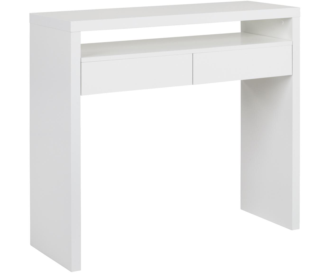 Smal bureau Teresa met uitschuifbare tafelblad, Spaanplaat met melaminecoating, Wit, B 100 x D 36 cm