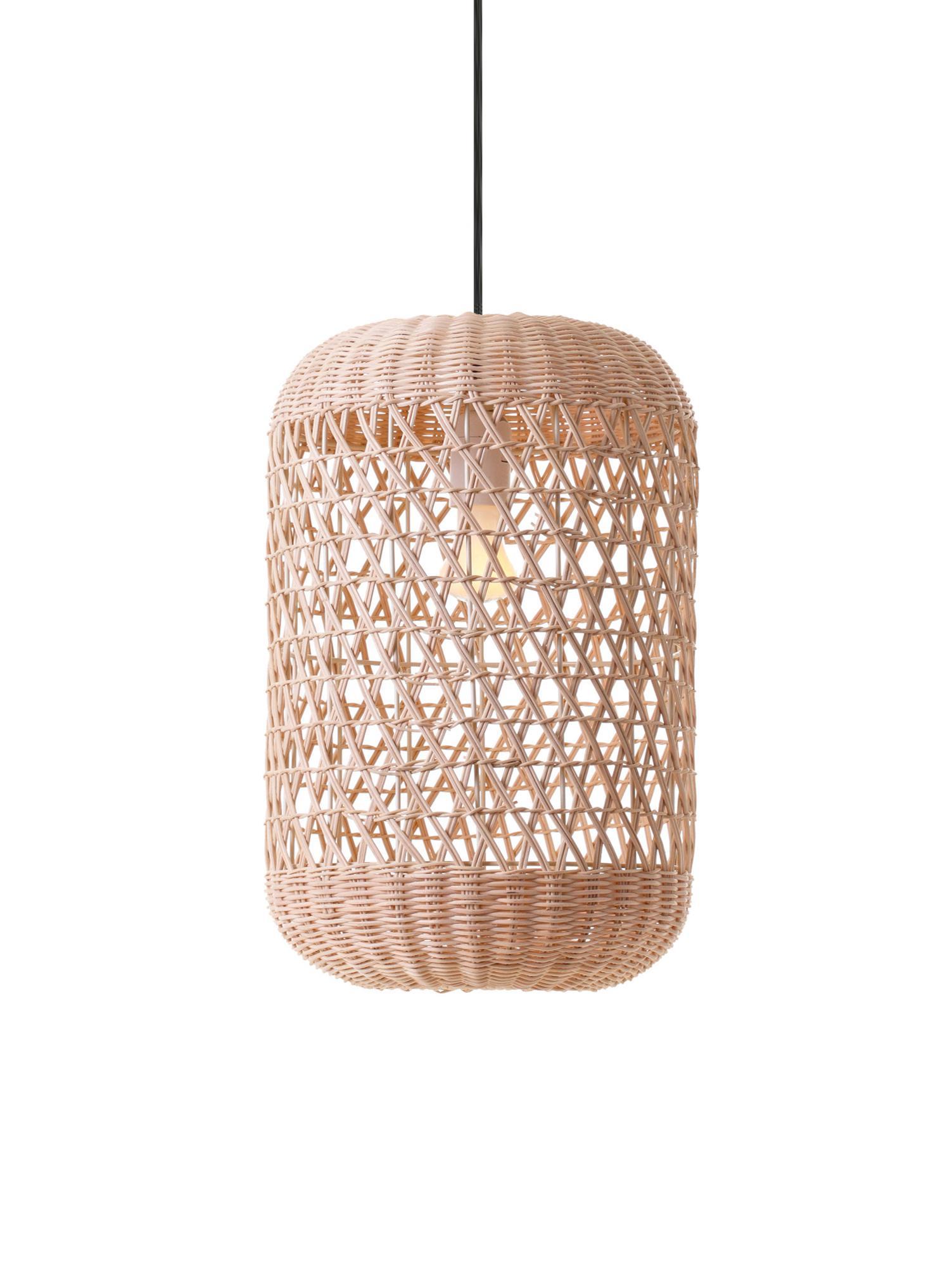 Pendelleuchte Aurora aus Bambus, Lampenschirm: Bambus, Baldachin: Kunststoff, Hellbraun, Ø 25 x H 37 cm