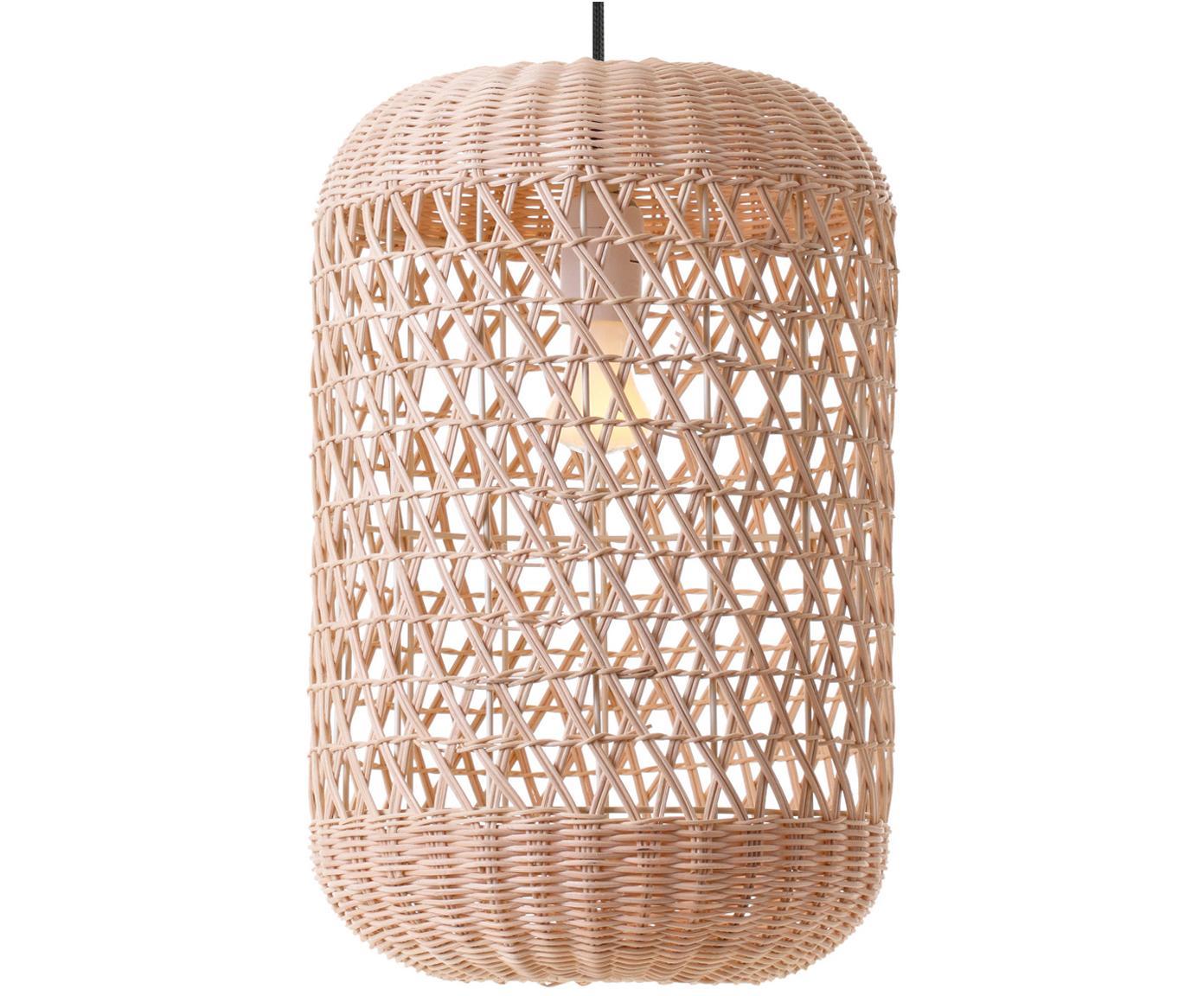 Lámpara de techo de vidrio Aurora, Pantalla: bambú, Anclaje: plástico, Cable: cubierto en tela, Bayo, Ø 25 x Al 37 cm