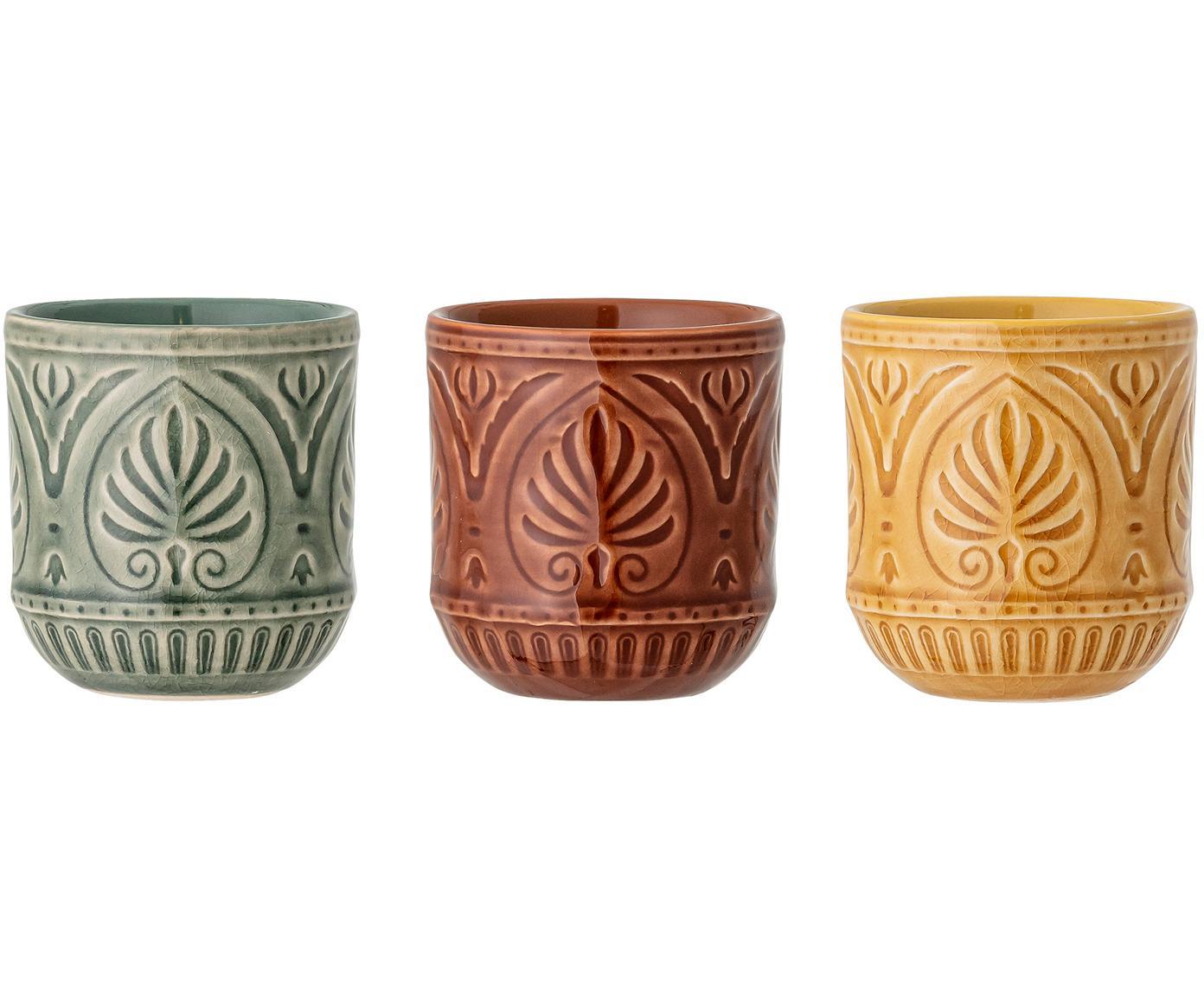 Handgemaakte kopjesset Rani, 3-delig, Keramiek, Groen, geel, rood, Ø 8 cm