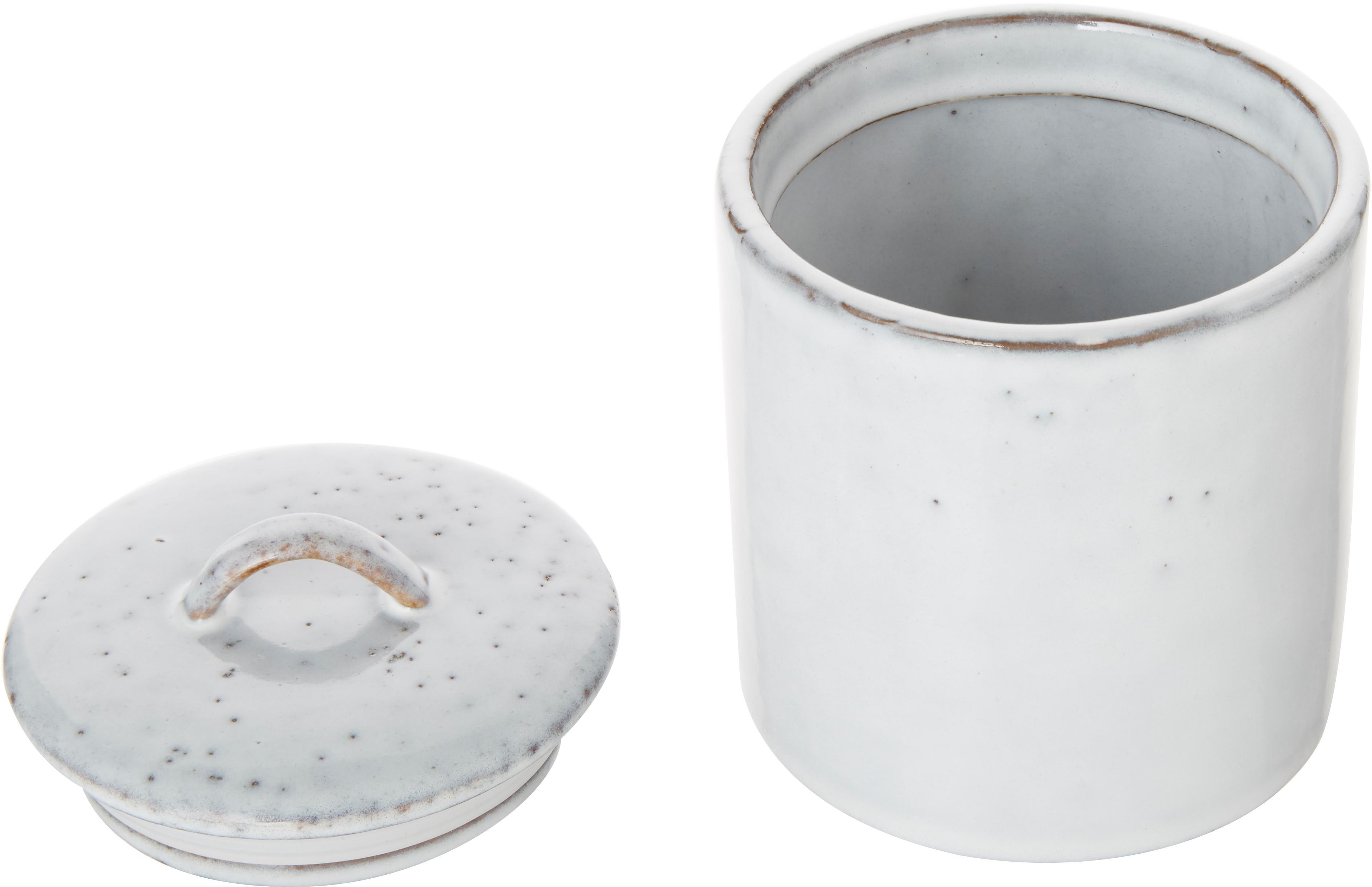 Ręcznie wykonany pojemnik do przechowywania z kamionki Nordic Sand, Kamionka, Odcienie piaskowego, Ø 12 x W 12 cm