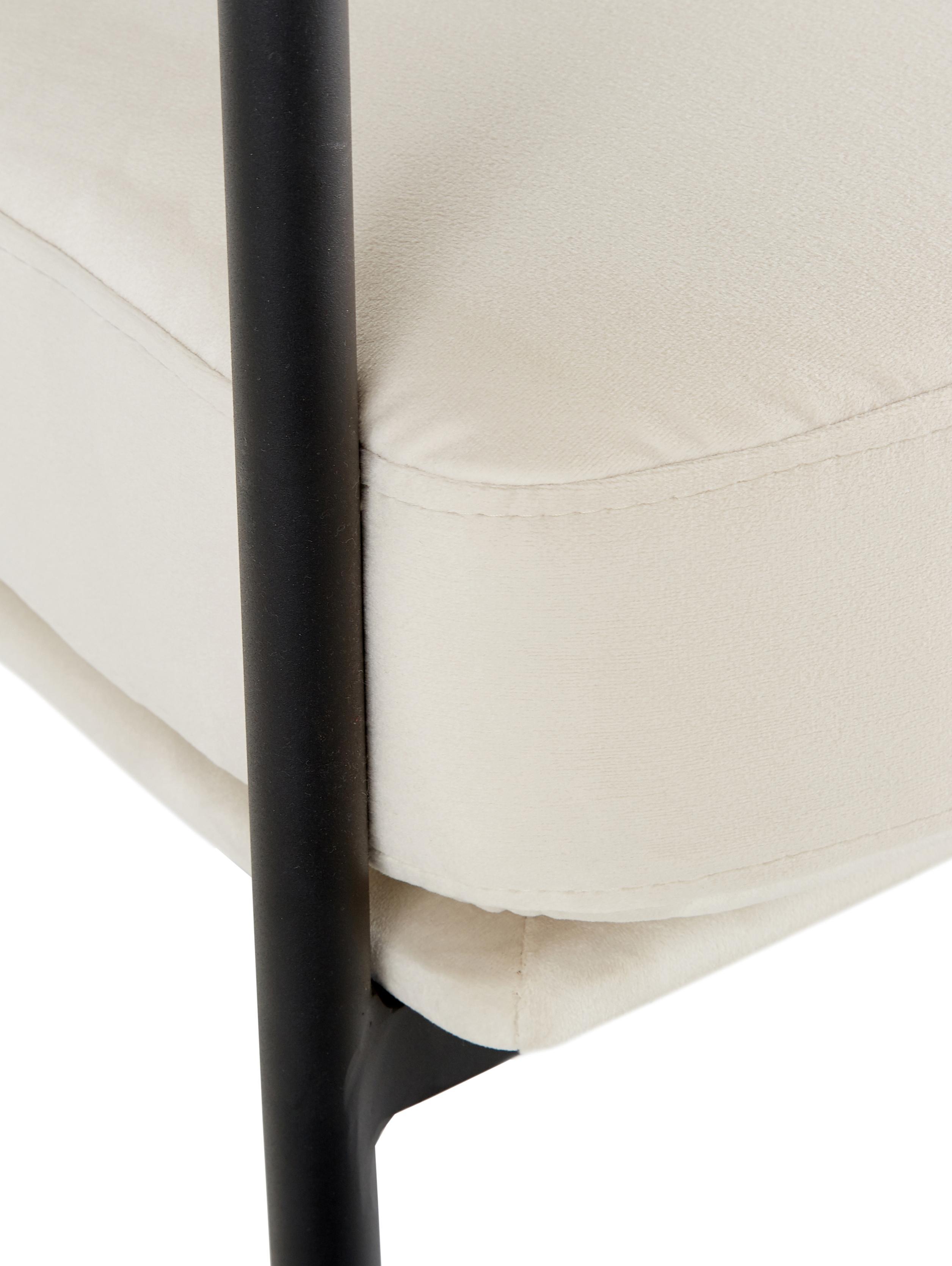 Samt-Loungesessel Zoe, Bezug: Samt (Polyester) 50.000 S, Gestell: Metall, pulverbeschichtet, Teddy Cremeweiß, B 67 x T 66 cm