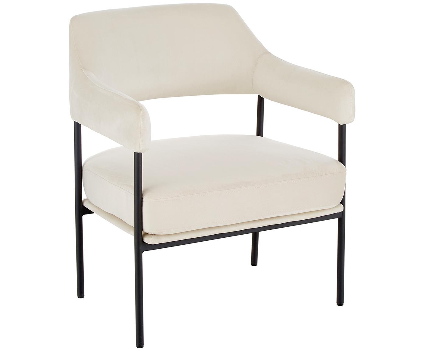 Sedia a poltrona in velluto Zoe, Rivestimento: velluto (poliestere) 50.0, Struttura: metallo verniciato a polv, Peluche bianco crema, Larg. 67 x Prof. 66 cm