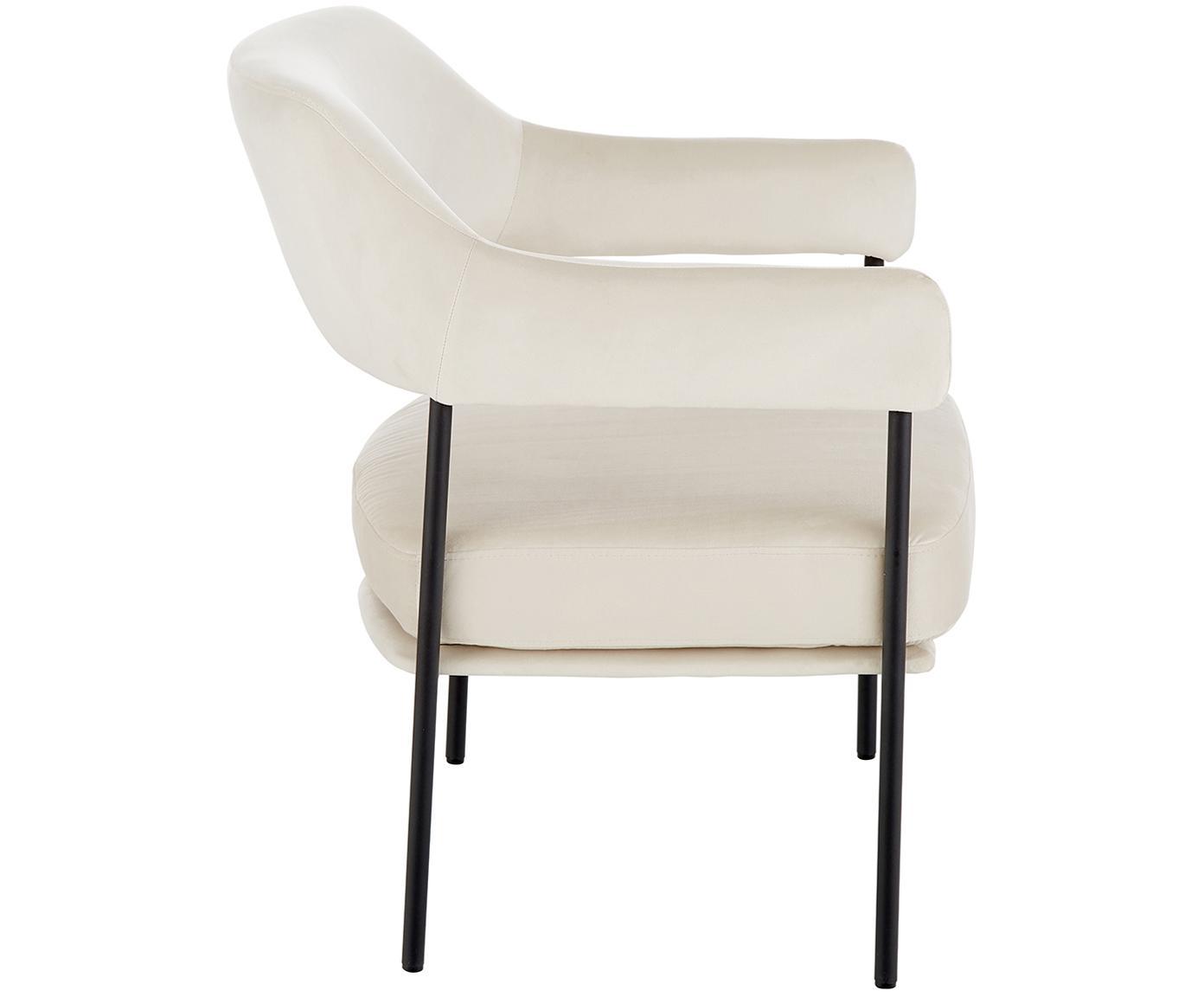 Fotel wypoczynkowy z aksamitu Zoe, Tapicerka: aksamit (poliester) 50 00, Stelaż: metal malowany proszkowo, Kremowobiały teddy, S 67 x G 66 cm