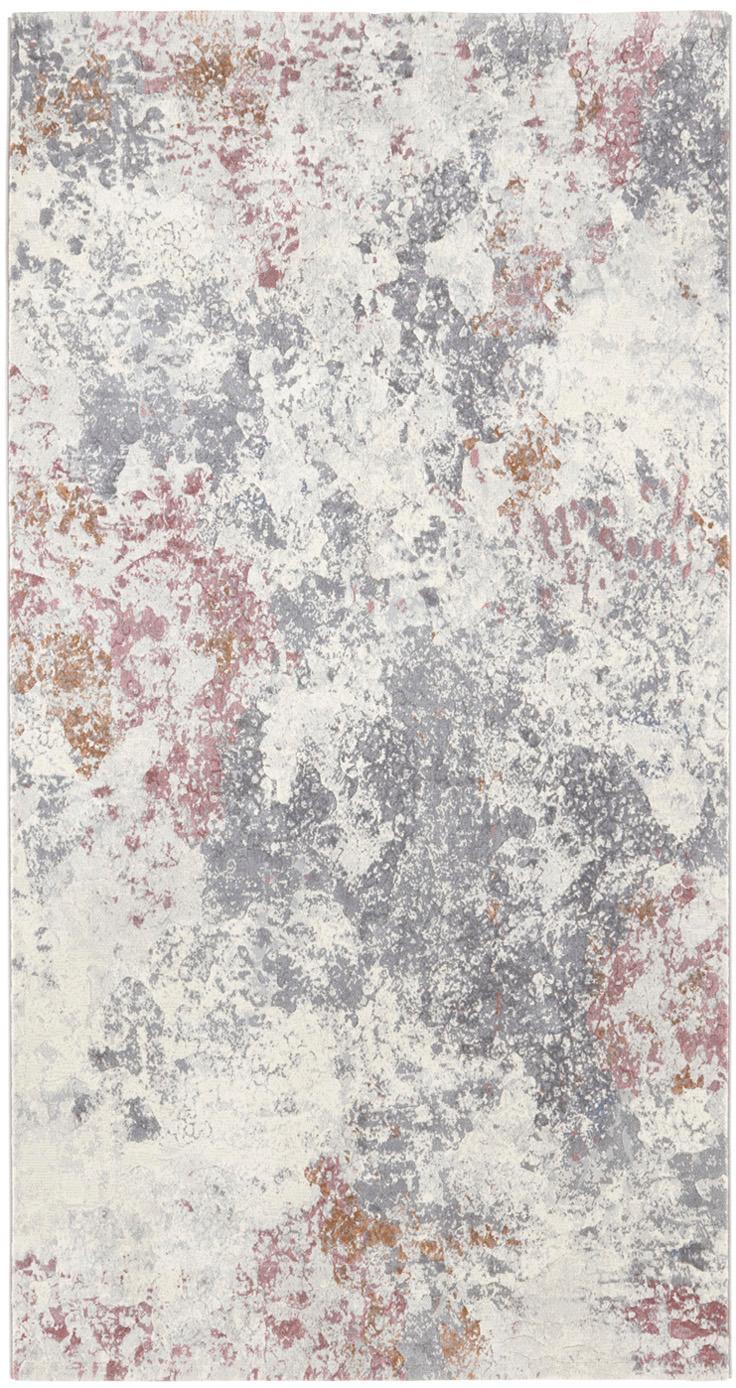 Dywan z marmurowym wzorem Fontaine, Kremowy, szary, malinowy, S 80 x D 150 cm (Rozmiar XS)