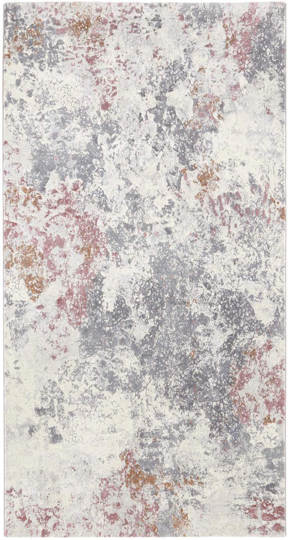 Tappeto di design in polipropilene Fontaine, Retro: juta, Crema, grigio, rosso lampone, Larg. 80 x Lung. 150 cm (taglia XS)