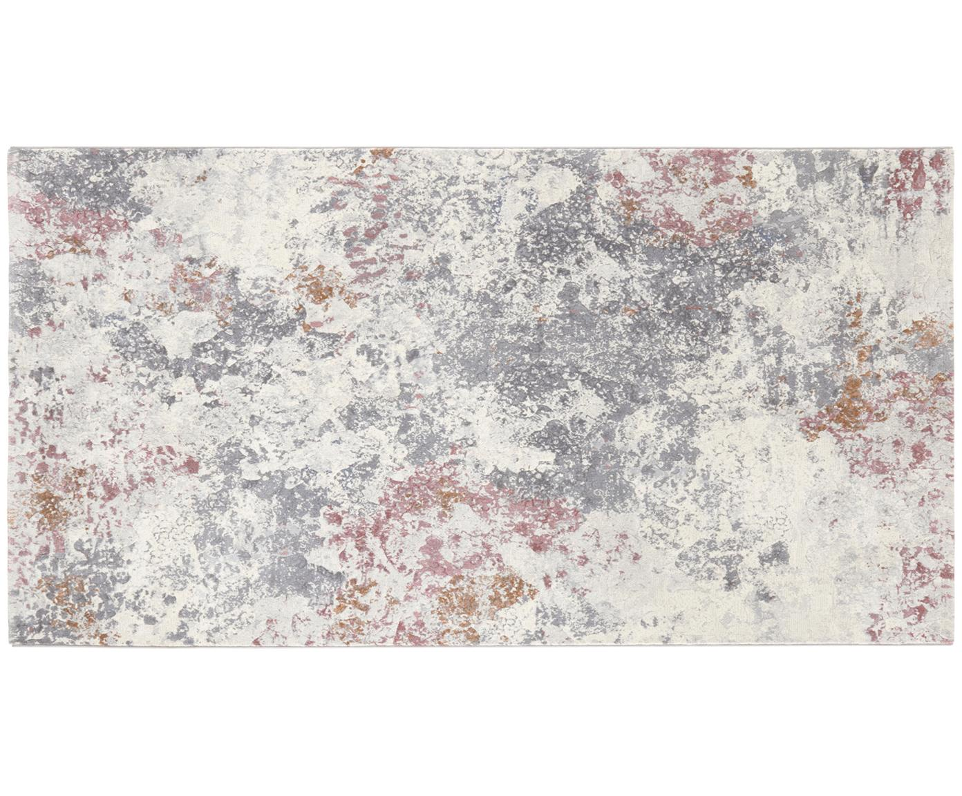 Designteppich Fontaine im Marmor-Look, Flor: 100% Polypropylen, Creme, Grau, Himbeerrot, B 80 x L 150 cm (Grösse XS)