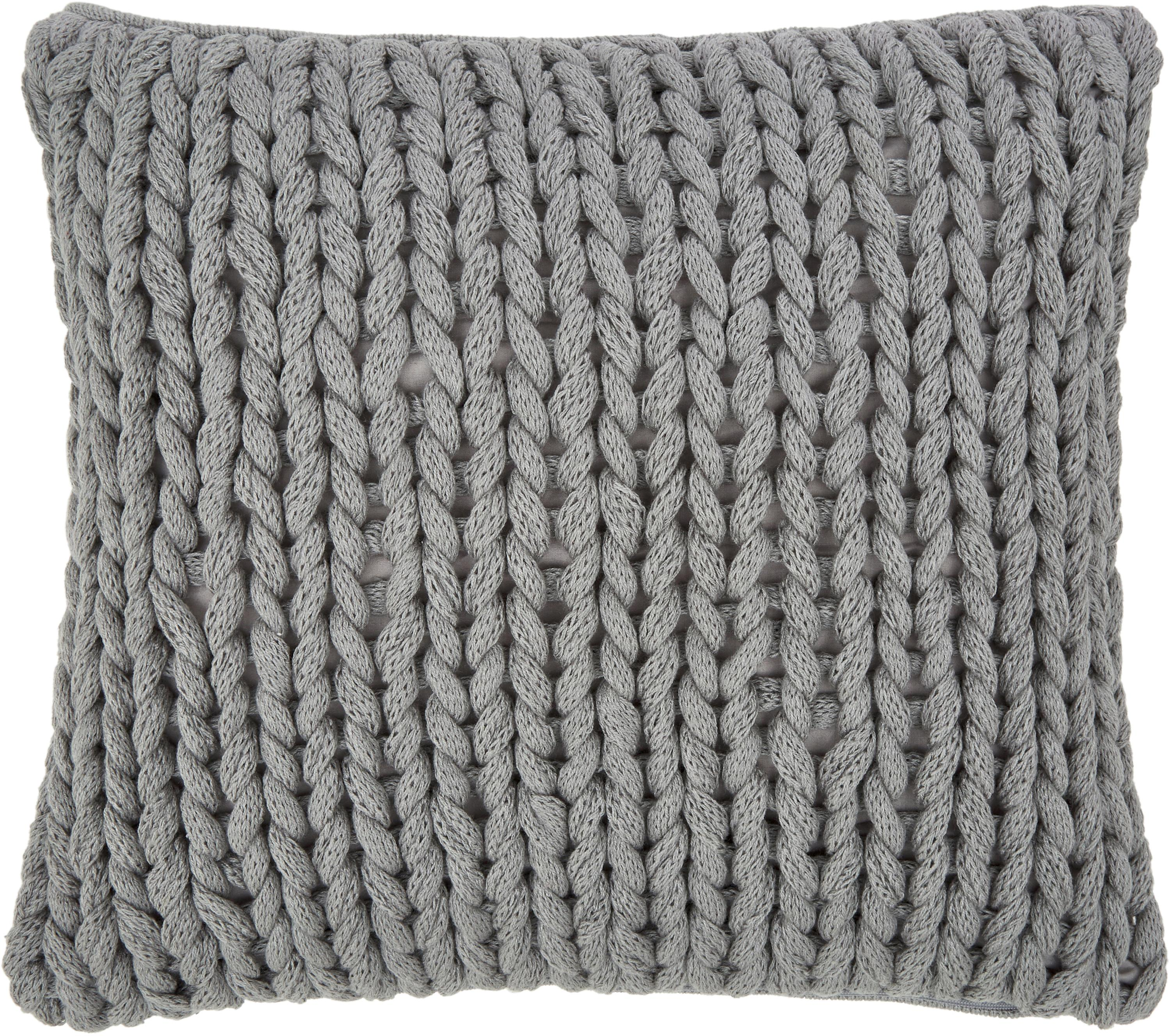 Federa arredo a maglia grossa Adyna, 100% poliacrilico, Grigio chiaro, Larg. 45 x Lung. 45 cm