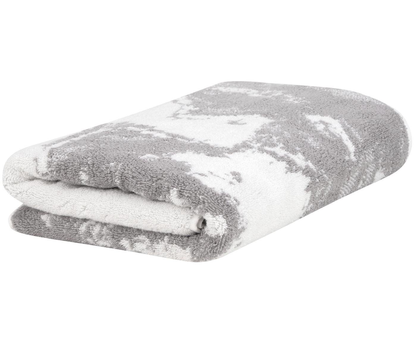 Handtuch Malin mit Marmor-Print, Grau, Cremeweiß, Gästehandtuch