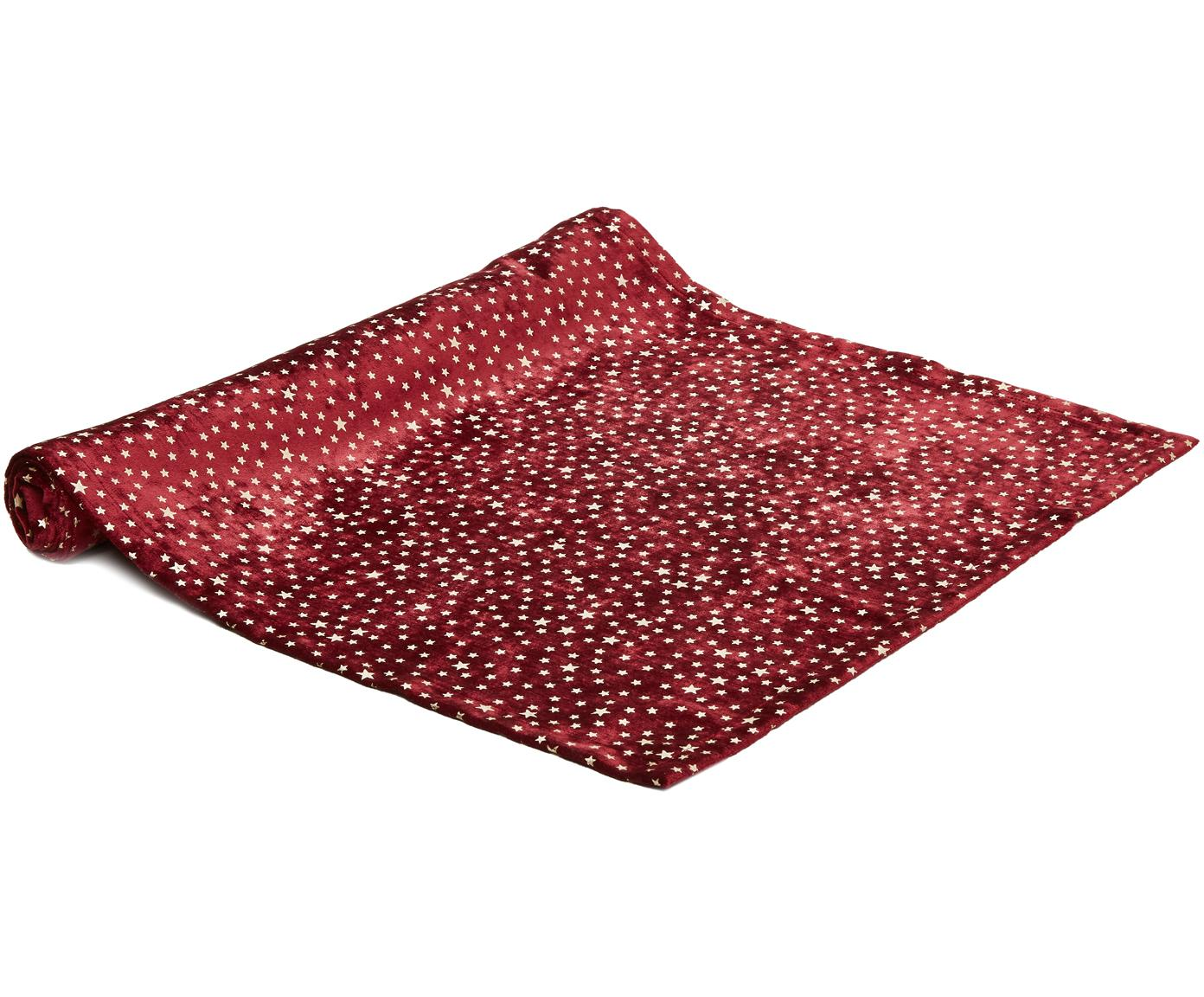 Runner da tavolo in velluto Estrella, Velluto di poliestere, Rosso scuro, beige, Larg. 50 x Lung. 140 cm