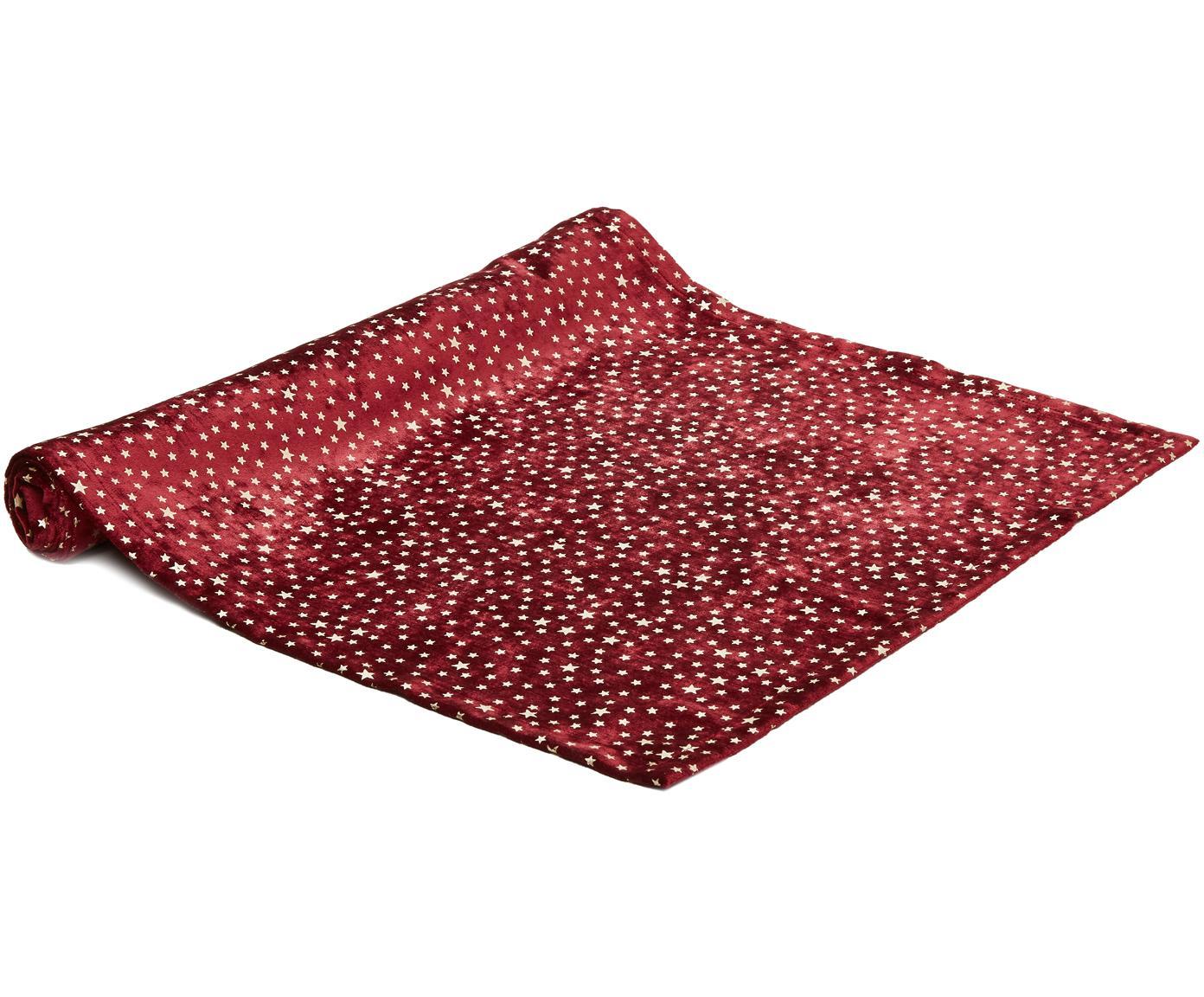 Samt-Tischläufer Estrella, Polyestersamt, Dunkelrot, Beige, 50 x 140 cm