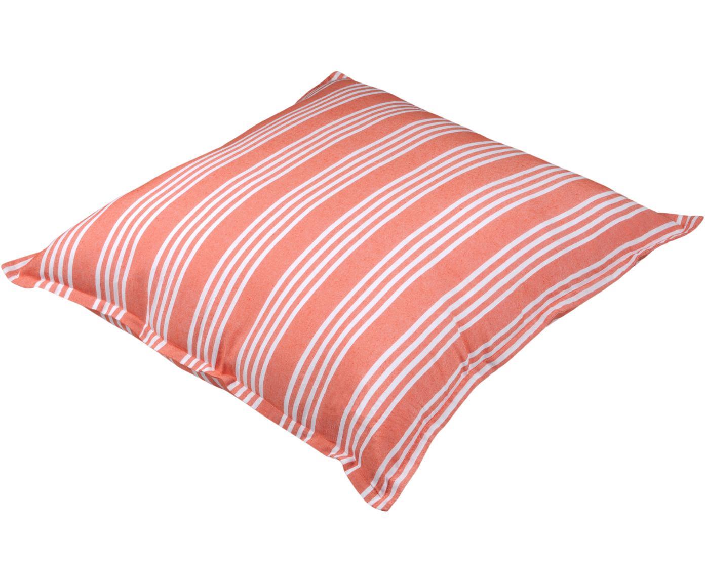 Poduszka podłogowa Mandelieu, Mieszanka bawełny, Koralowy, biały, S 80 x D 80 cm
