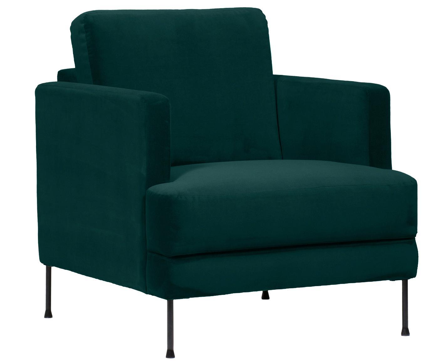 Fotel z aksamitu Fluente, Tapicerka: aksamit (wysokiej jakości, Stelaż: lite drewno sosnowe, Nogi: metal lakierowany, Ciemnozielony aksamit, S 76 x G 83 cm