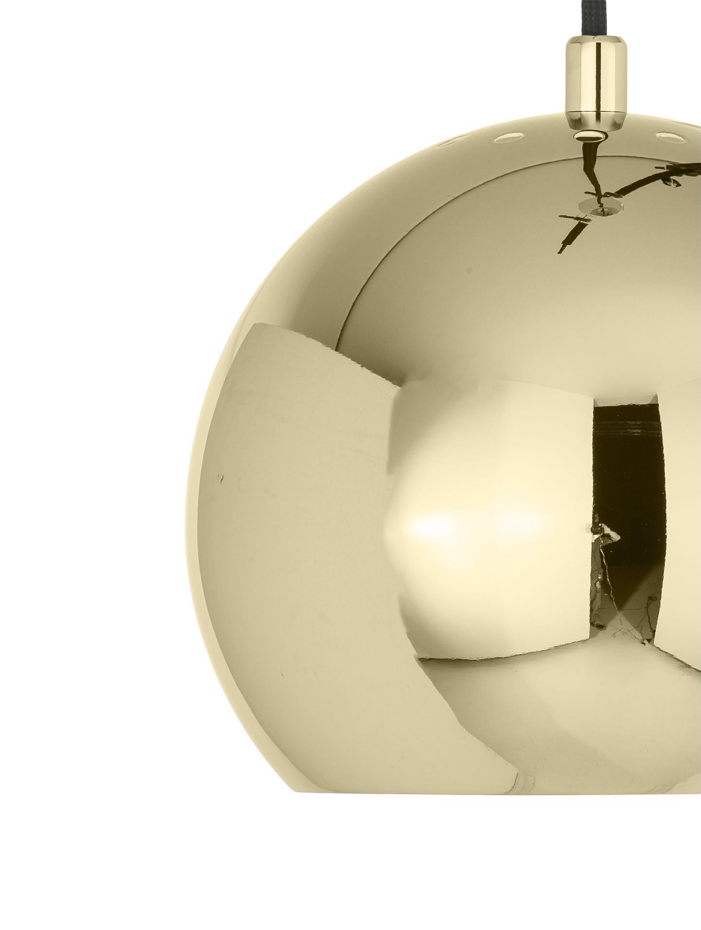Lampada a sospensione a sfera Ball, Metallo rivestito, Ottone, Ø 18 x Alt. 16 cm