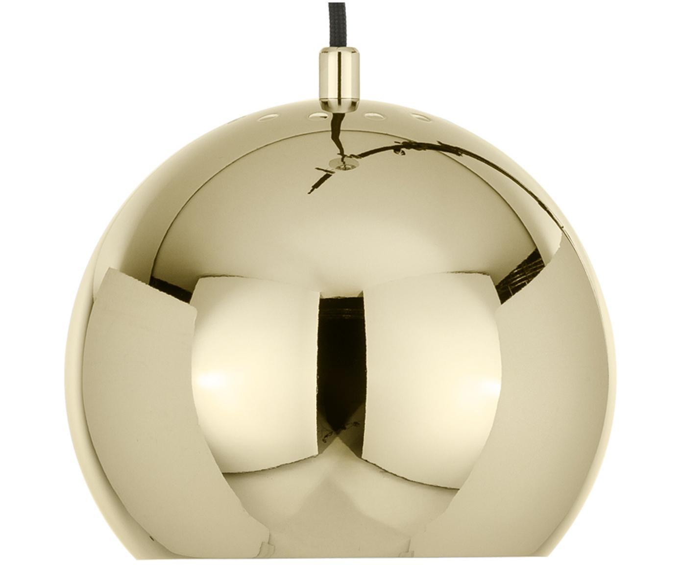 Kleine bolvormige hanglamp  Ball, Gecoat metaal, Messingkleurig, Ø 18 x H 16 cm