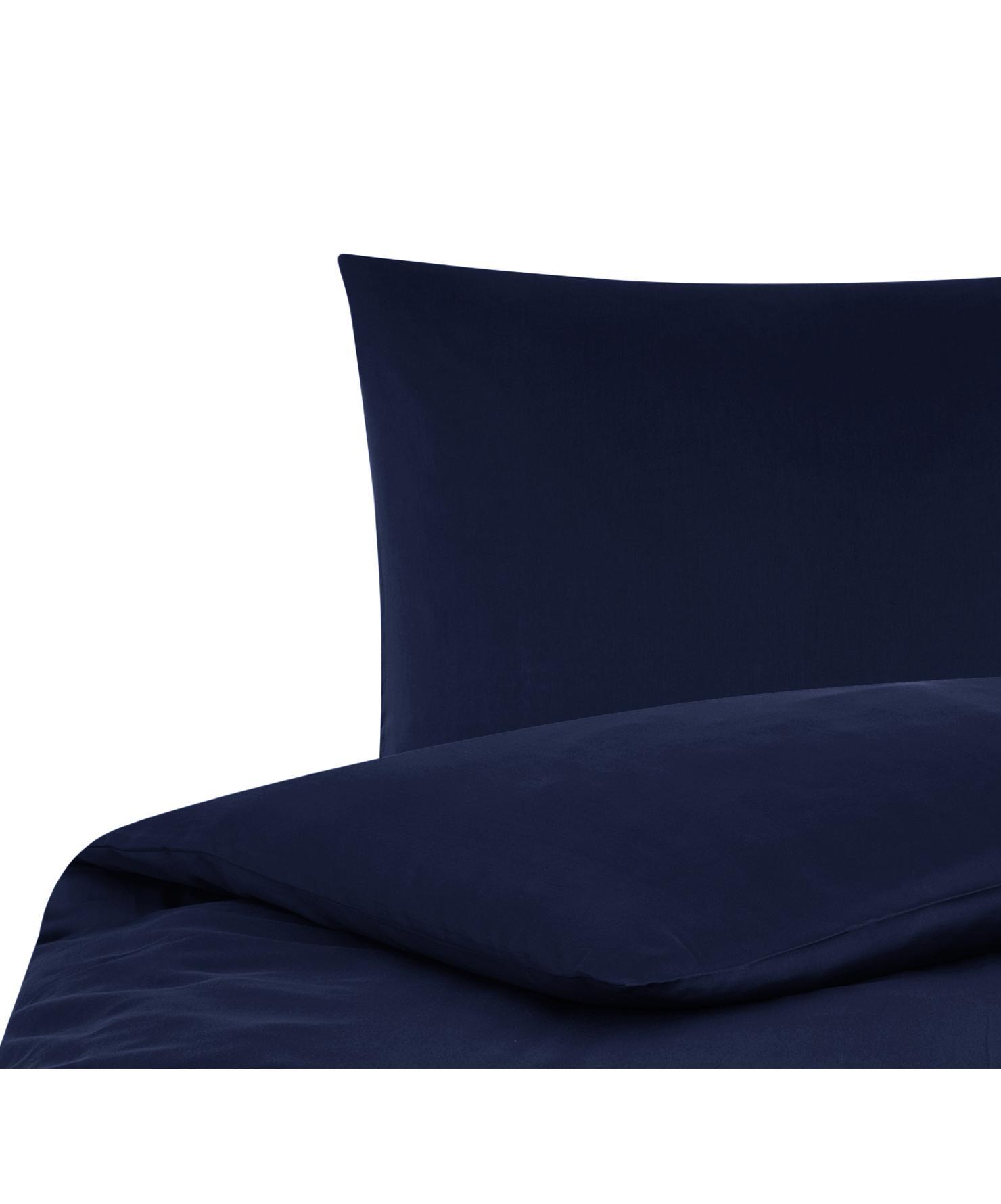 Pościel z satyny bawełnianej Comfort, Ciemny niebieski, 155 x 220 cm