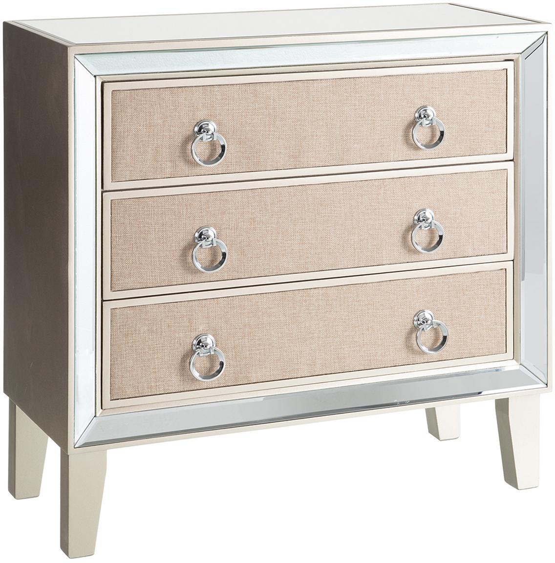 Cómoda Miriam, Blanco crema, beige, An 70 x Al 73 cm