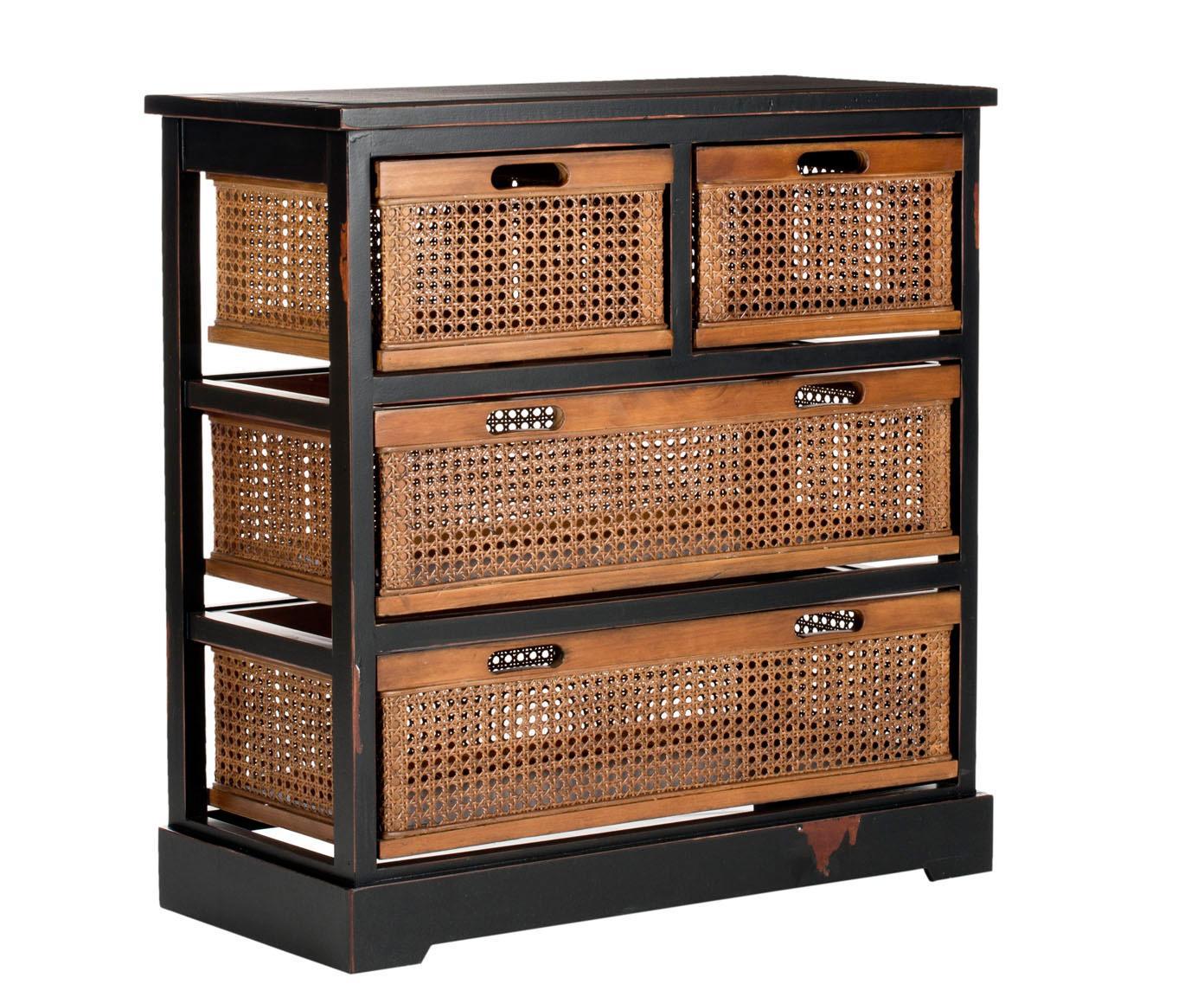 Rattan-Kommode Bantu mit Schubladen, Korpus: Kiefernholz, lackiert, Naturholz, schwarz, 74 x 77 cm