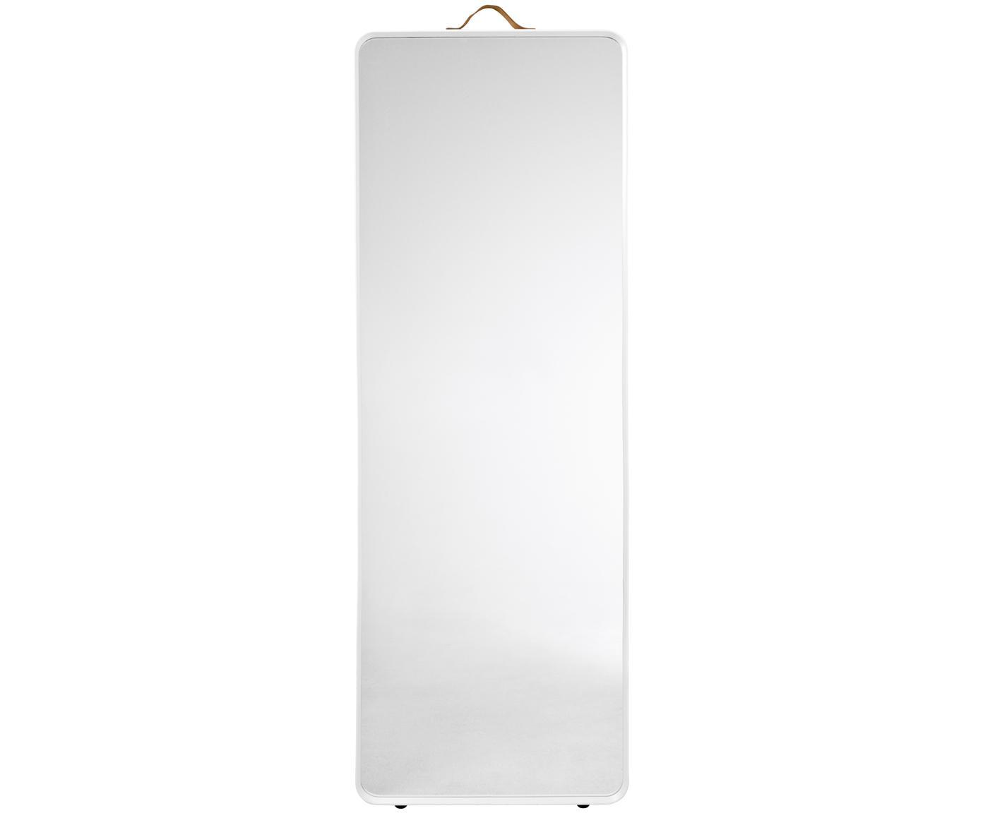 Specchio da parete Norm, Cornice: alluminio verniciato a po, Manico: pelle, Bianco, Larg. 60 x Alt. 170 cm
