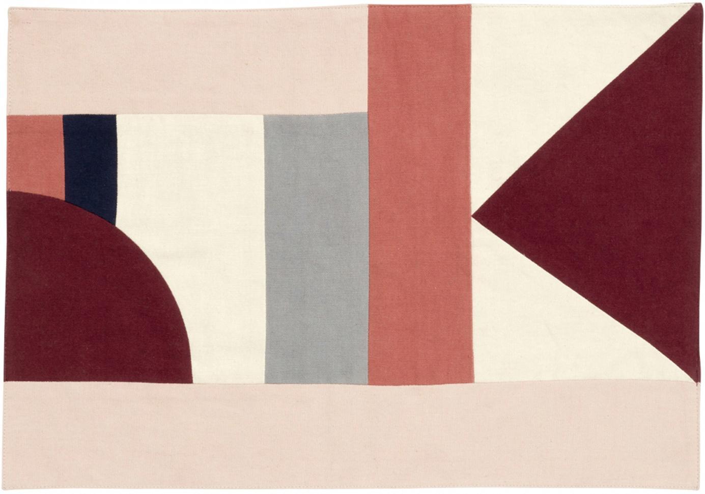Tovaglietta americana Patchwork 2 pz, Cotone, Tonalità rosse, tonalità beige, nero, Larg. 48 x Lung. 0 cm