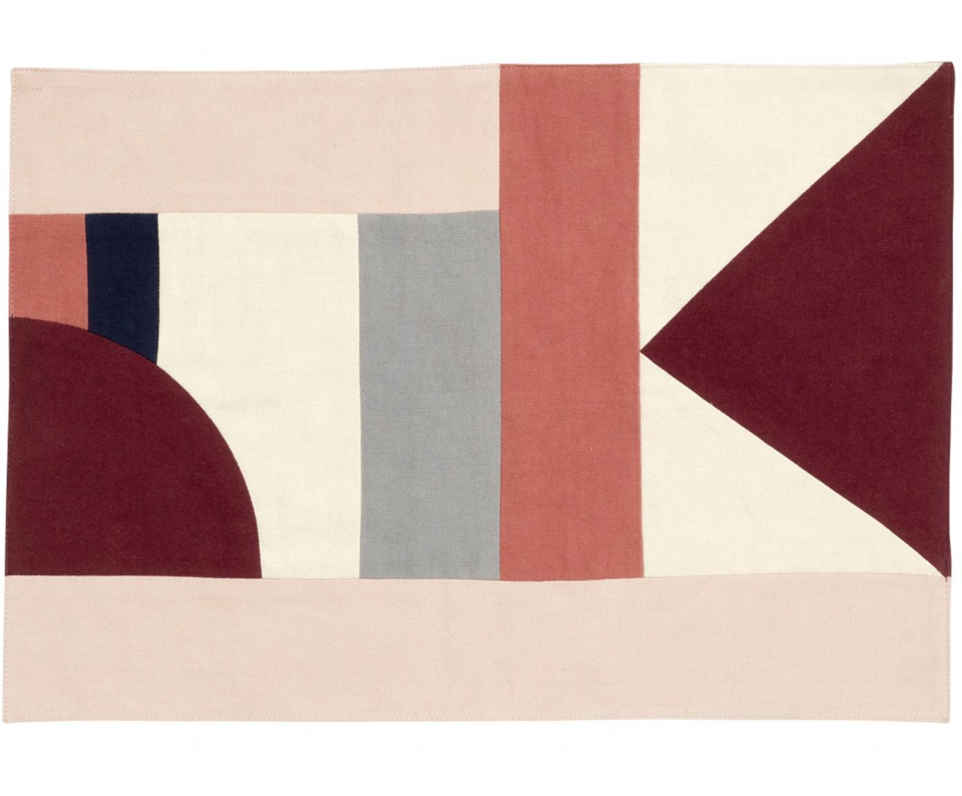 Tischsets Patchwork, 2 Stück, Baumwolle, Rottöne, Beigetöne, Schwarz, 48 x 0 cm
