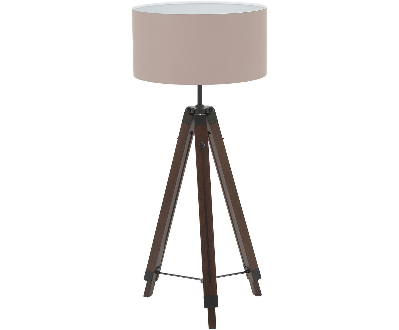 Stehlampe Josey aus Walnussholz, Lampenschirm: Textil, Lampenfuss: Walnuss, Schwarz<br>Lampenschirm: Taupe, Ø 70 x H 150 cm