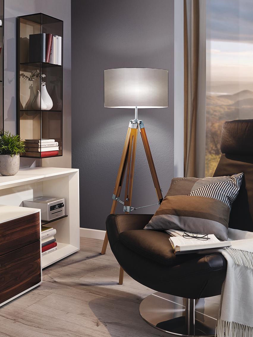 Lampada da terra in legno di noce Matilda, Base della lampada: legno di noce, acciaio ve, Paralume: tessuto, Base della lampada: albero di noce, nero Paralume: taupe, Ø 70 x Alt. 150 cm