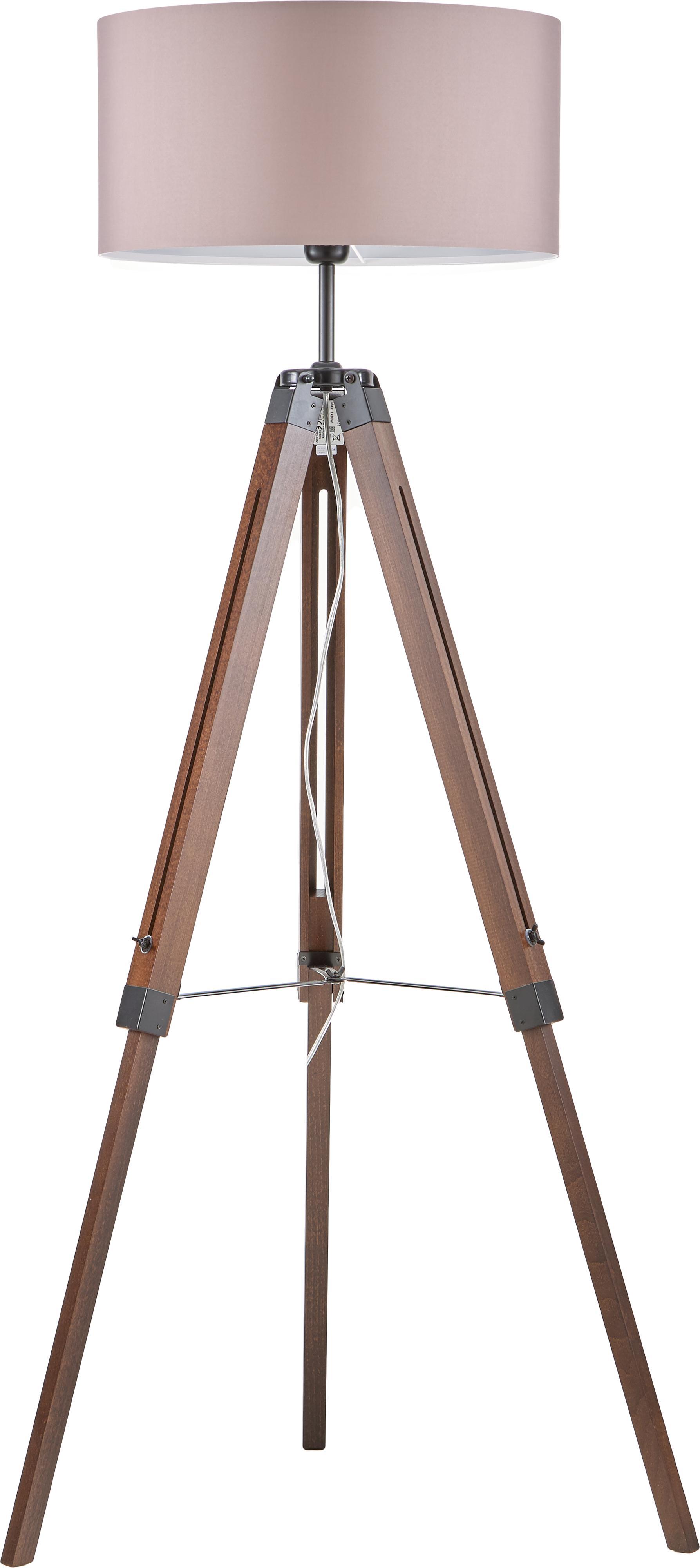 Tripod Stehlampe Josey aus Walnussholz, Lampenschirm: Textil, Lampenfuss: Walnuss, Schwarz<br>Lampenschirm: Taupe, Ø 70 x H 150 cm